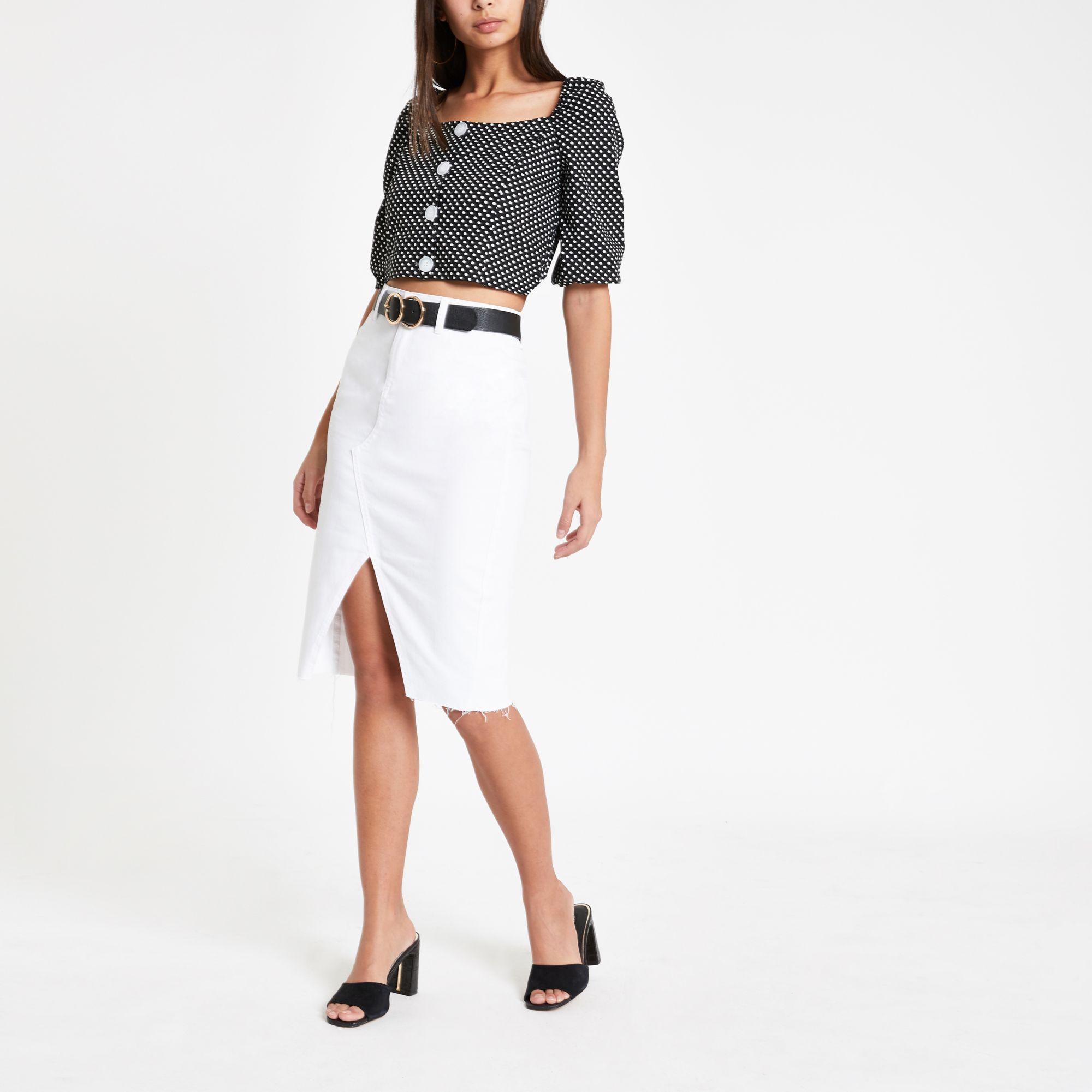 b55daea39cac1d River Island White Denim Pencil Skirt