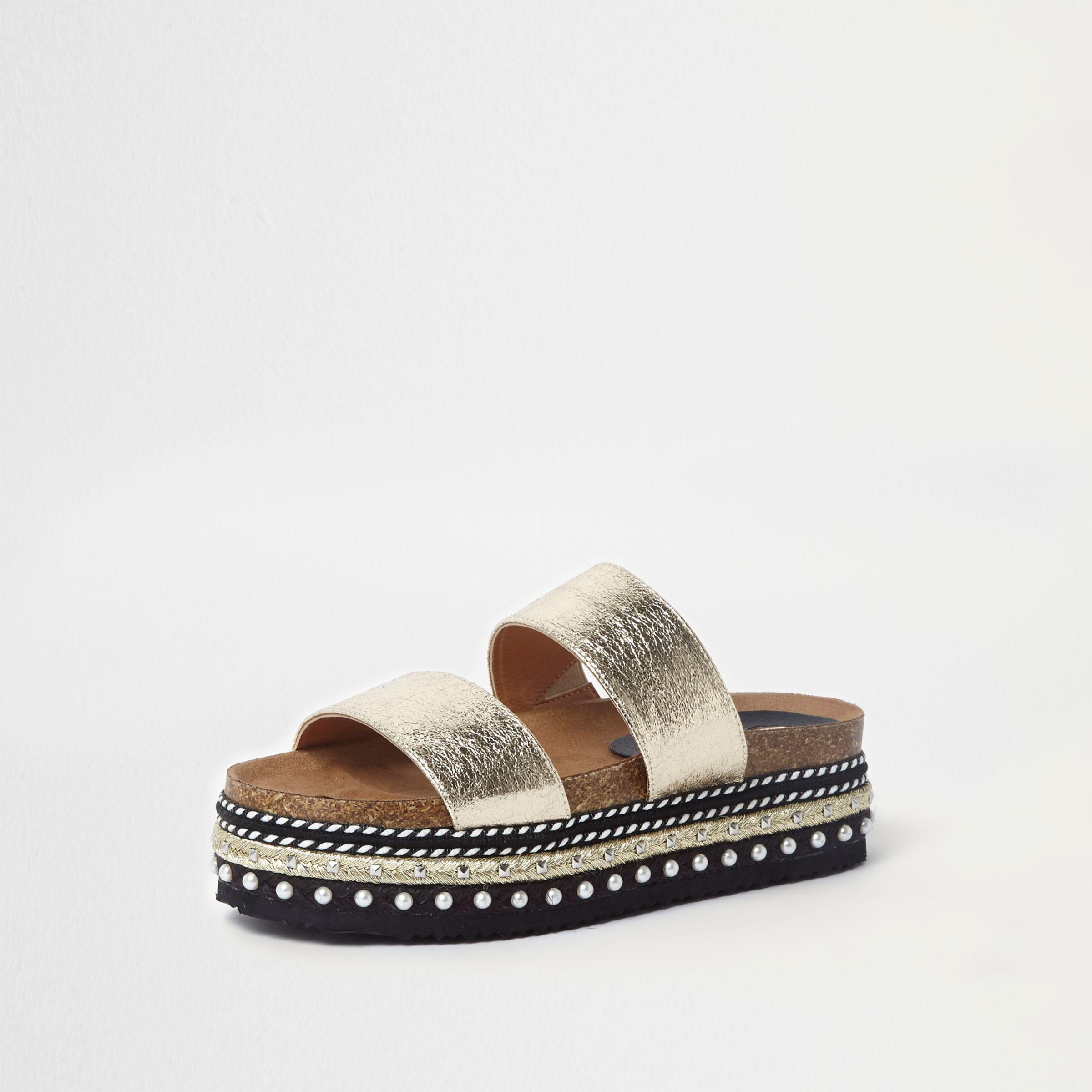 6112217dc0f7 Lyst - River Island Metallic Embellished Flatform Sliders in Metallic