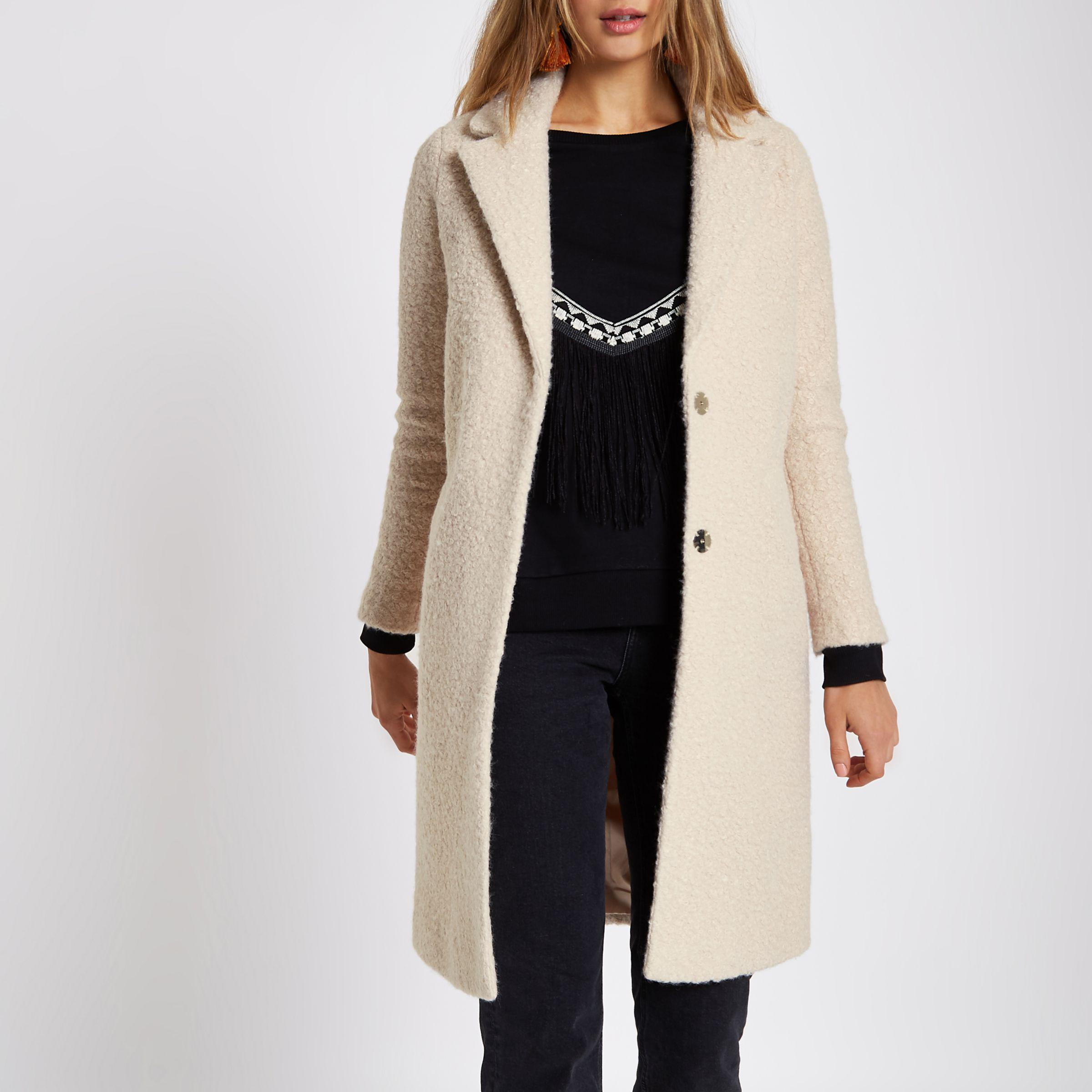 buy good factory outlet new lifestyle River Island Synthetic Cream Boucle Coat in Natural - Lyst