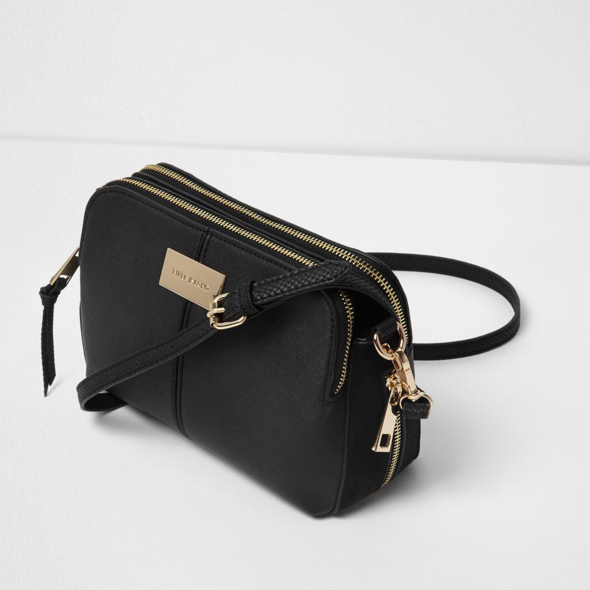 d6f0a9052 River Island Black Triple Compartment Cross Body Bag in Black - Lyst
