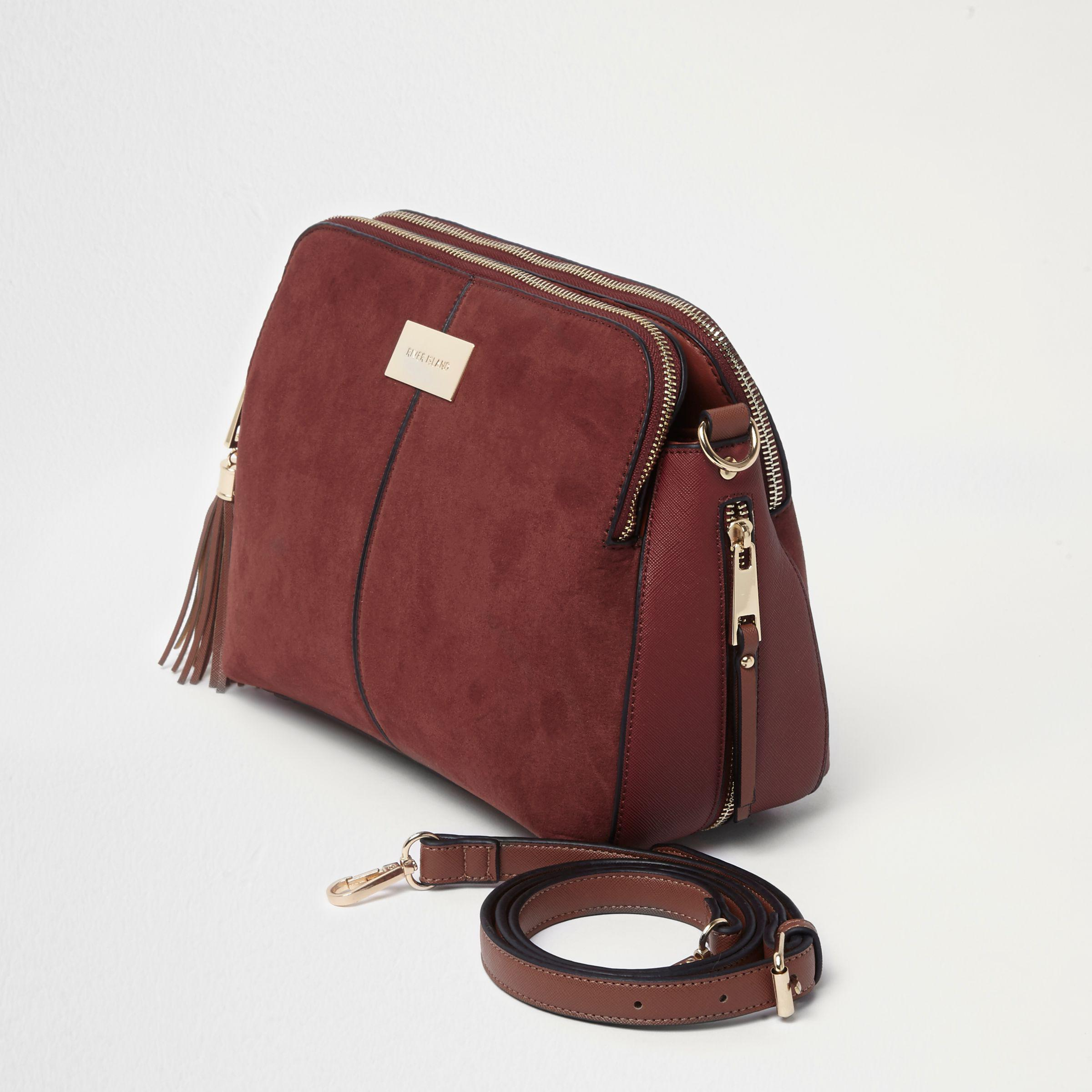 River Island Rust Red Triple Compartment Cross Body Bag