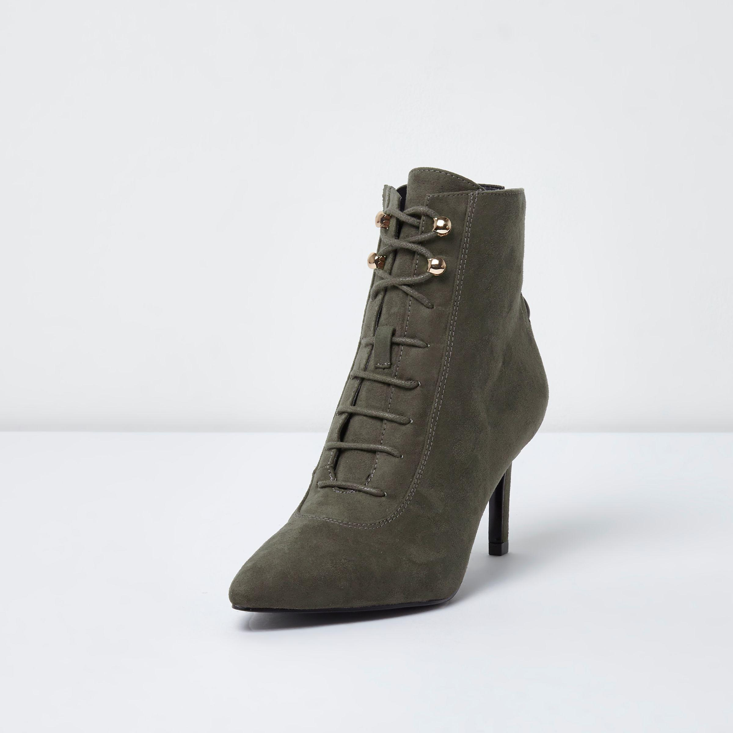 River Island Grey Pointed Lace-up Kitten Heel Ankle Boots in Grey