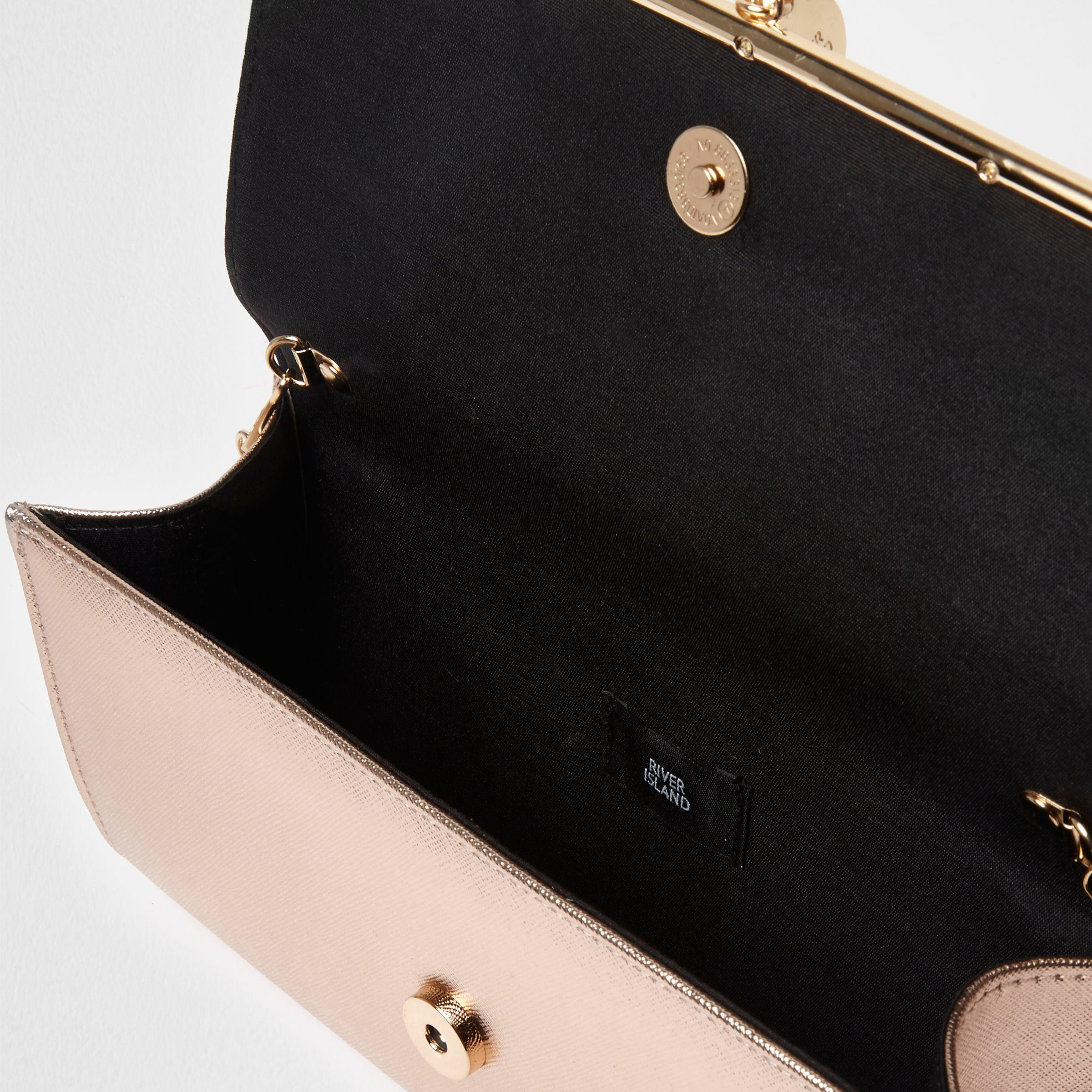 River Island Rose Gold Bar Front Foldover Clutch Bag In