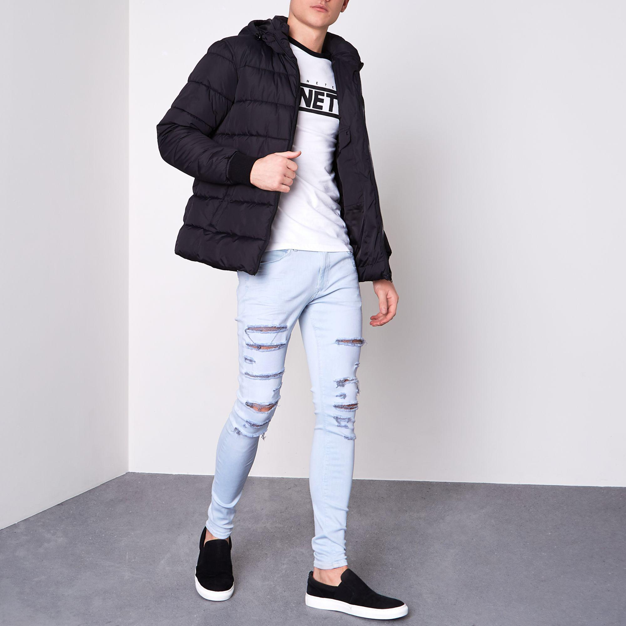 River Island Denim Ollie Ripped Super Skinny Spray On Jeans in Blue for Men