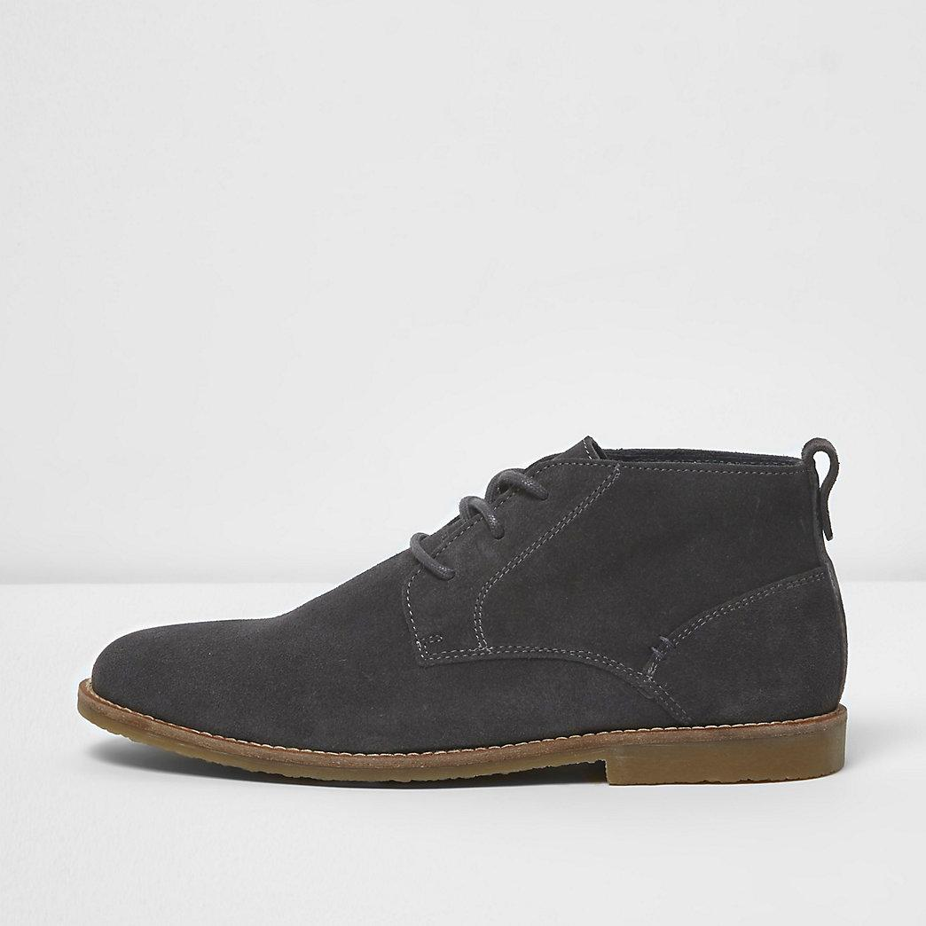 Grey Suede Chukka Boots in Gray for Men