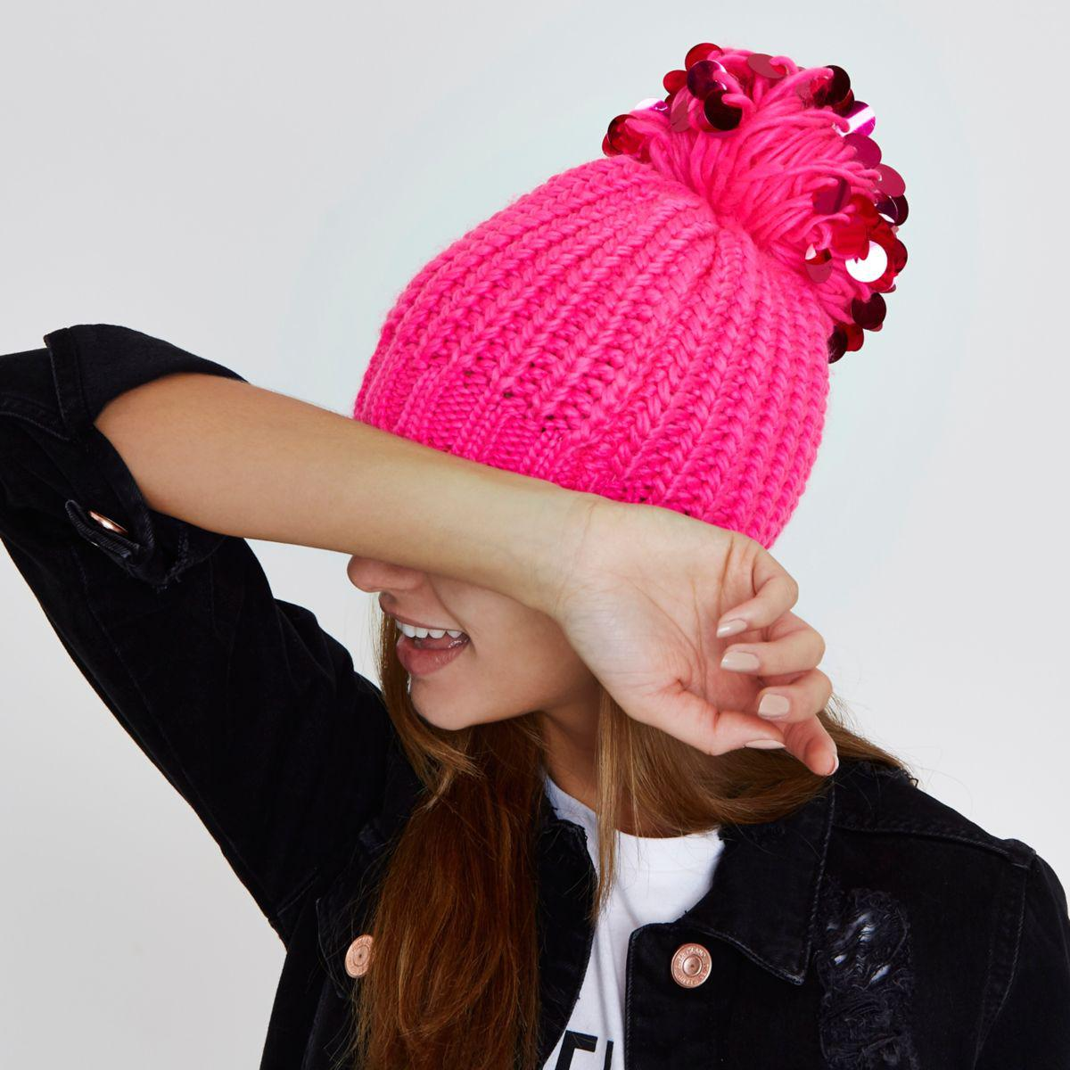 5e69459f88f Lyst - River Island Bright Pink Sequin Pom Pom Beanie Hat in Pink