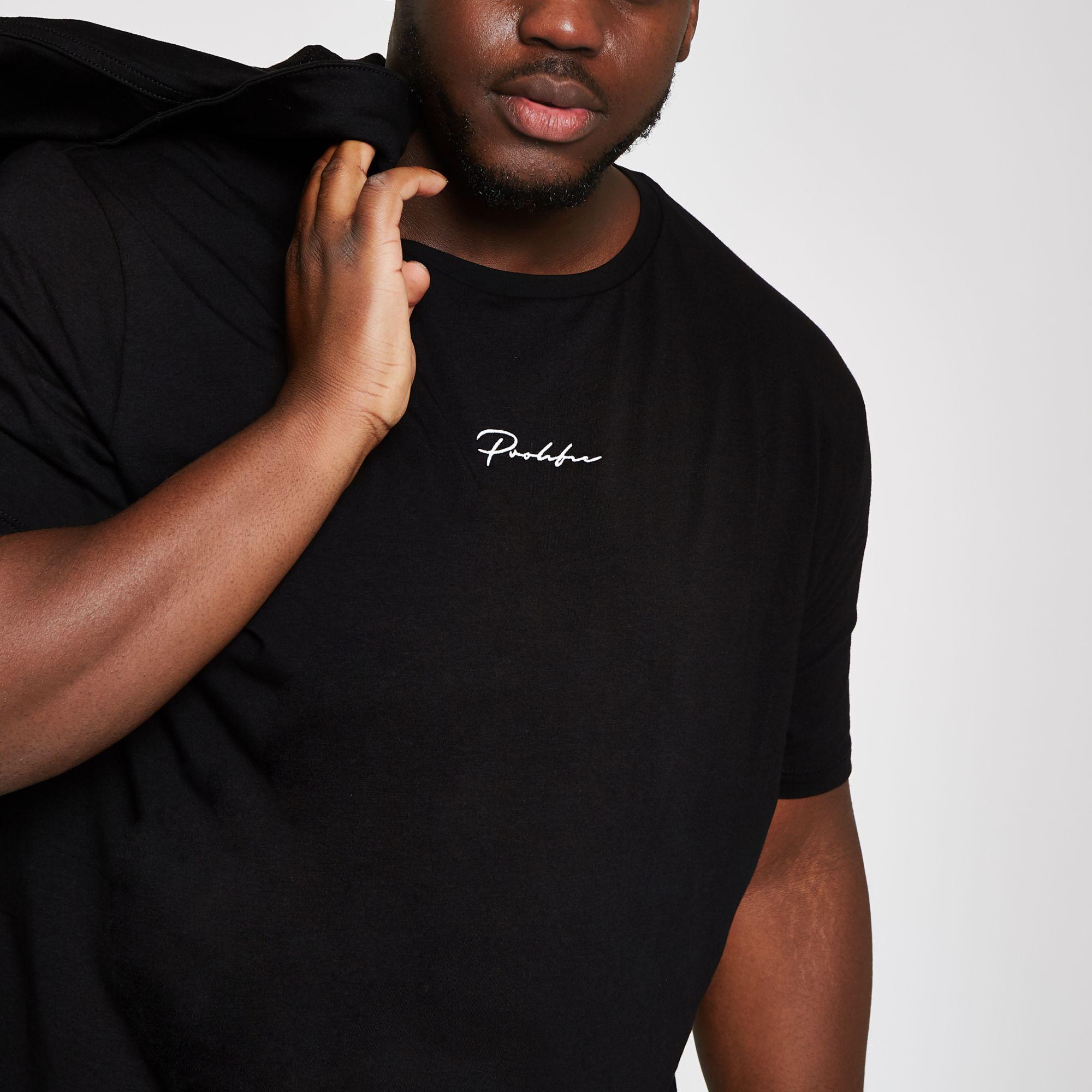 26c0b9c0 River Island - Black Big And Tall 'prolific' Curve T-shirt for Men. View  fullscreen