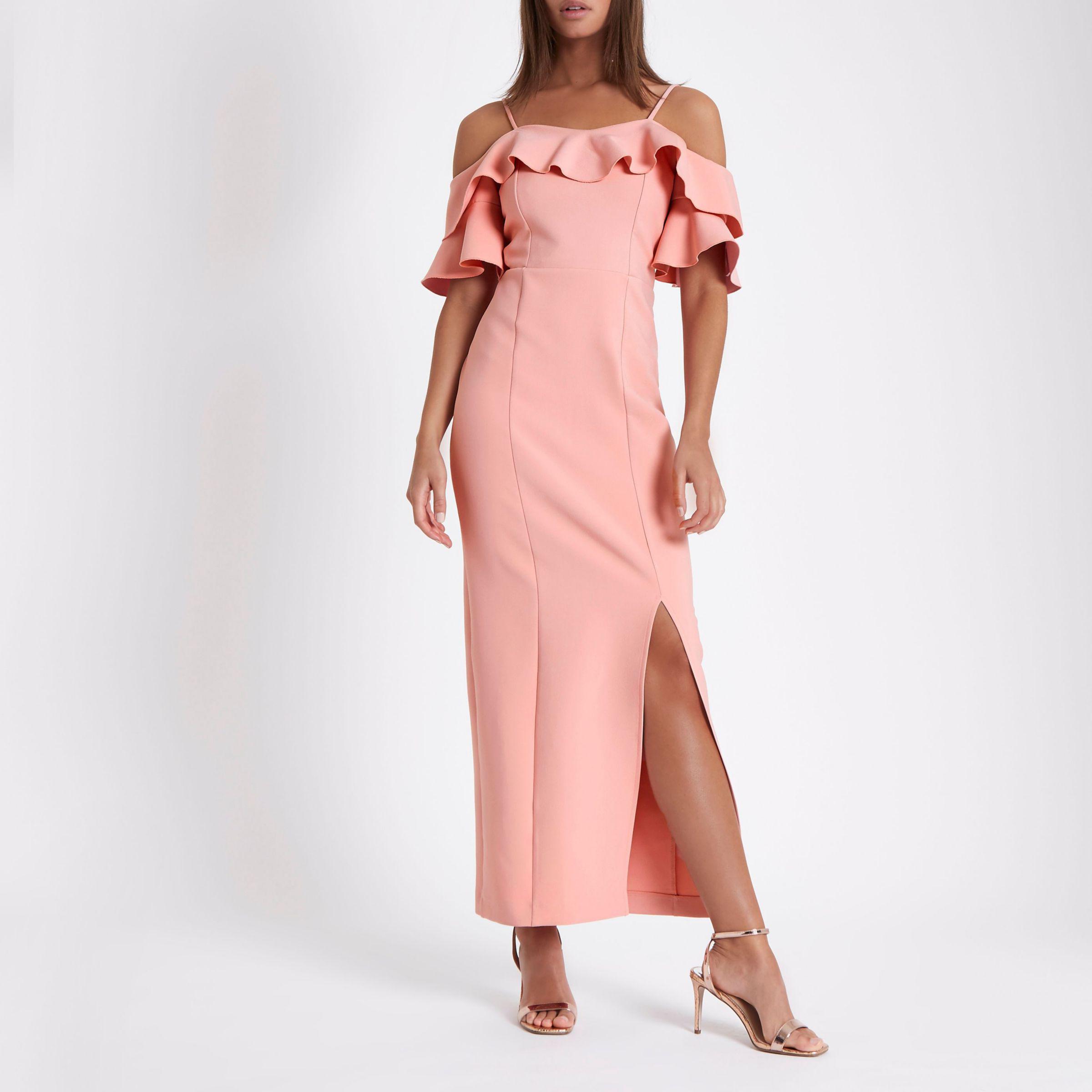 8c1b7fca08dda River Island Pink Frill Bardot Maxi Bodycon Dress in Pink - Lyst