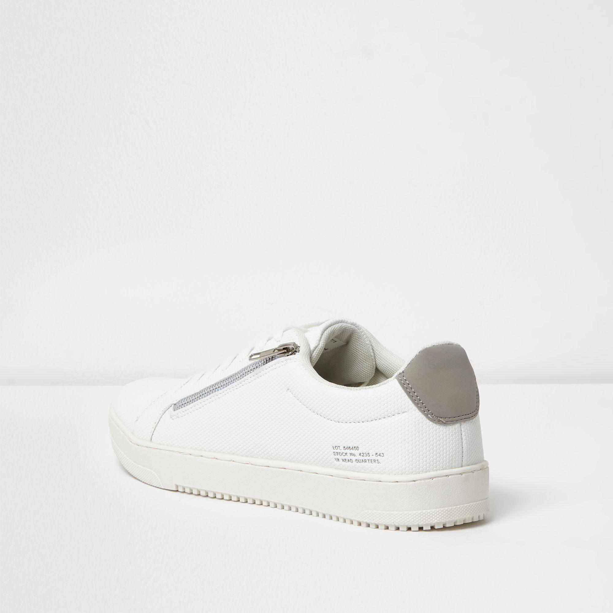 River Island Side Zip Lace-up Trainers in White for Men