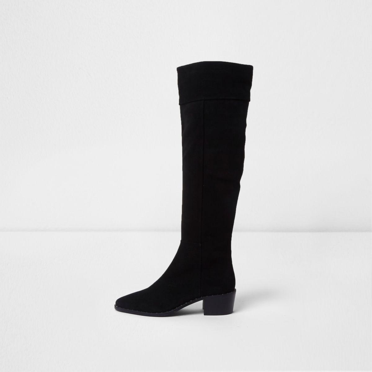 river island black suede slouch block heel knee high boots