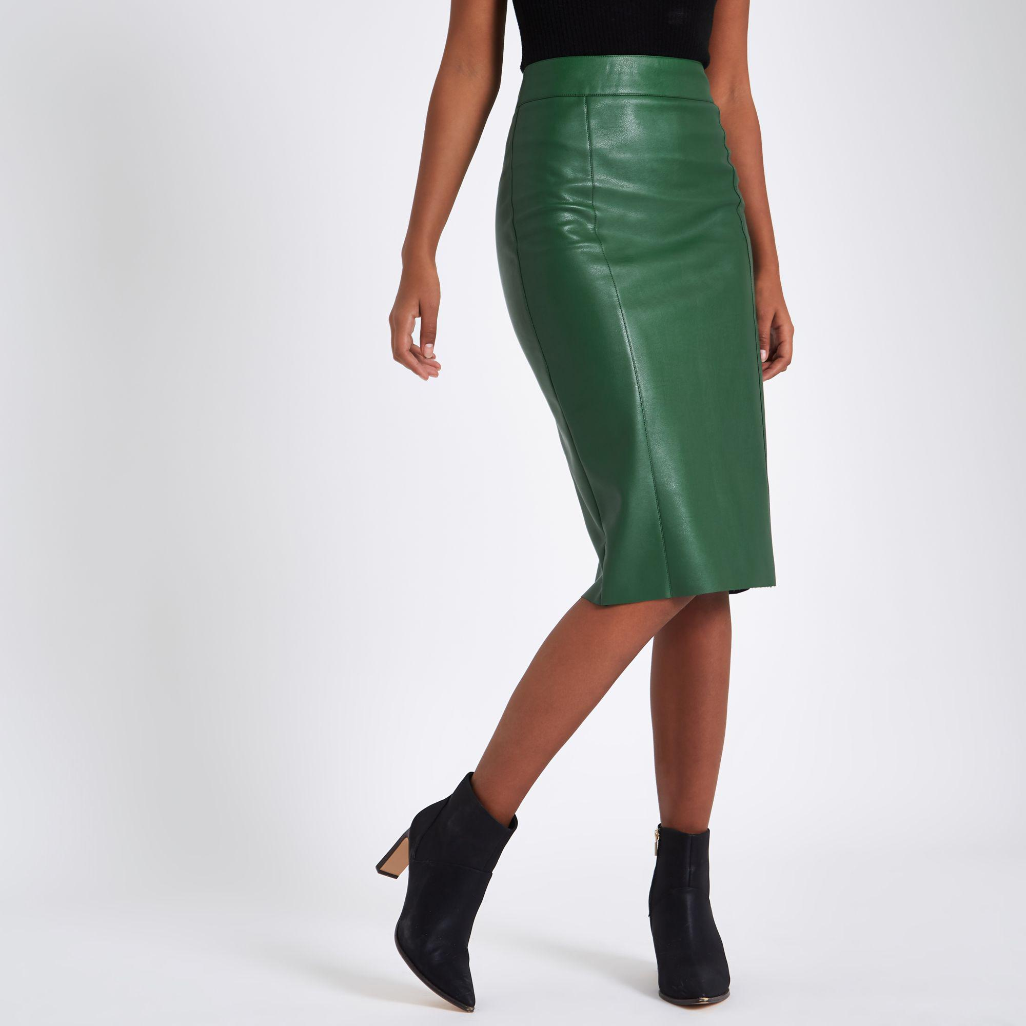 exceptional range of styles and colors so cheap best deals on River Island Green Faux Leather Pencil Skirt