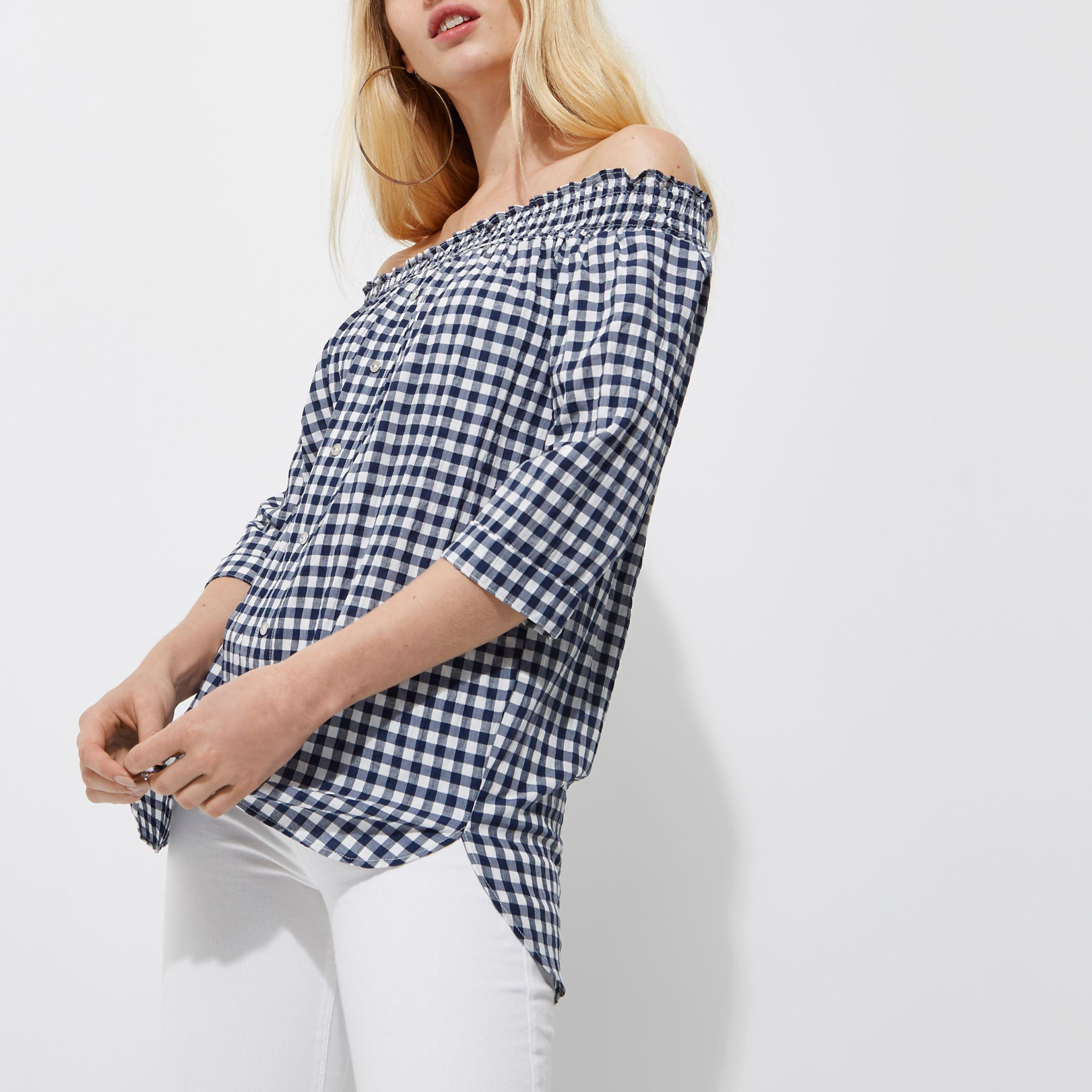 be8974ac8eb22a Lyst - River Island Navy Gingham Shirred Bardot Top in Blue