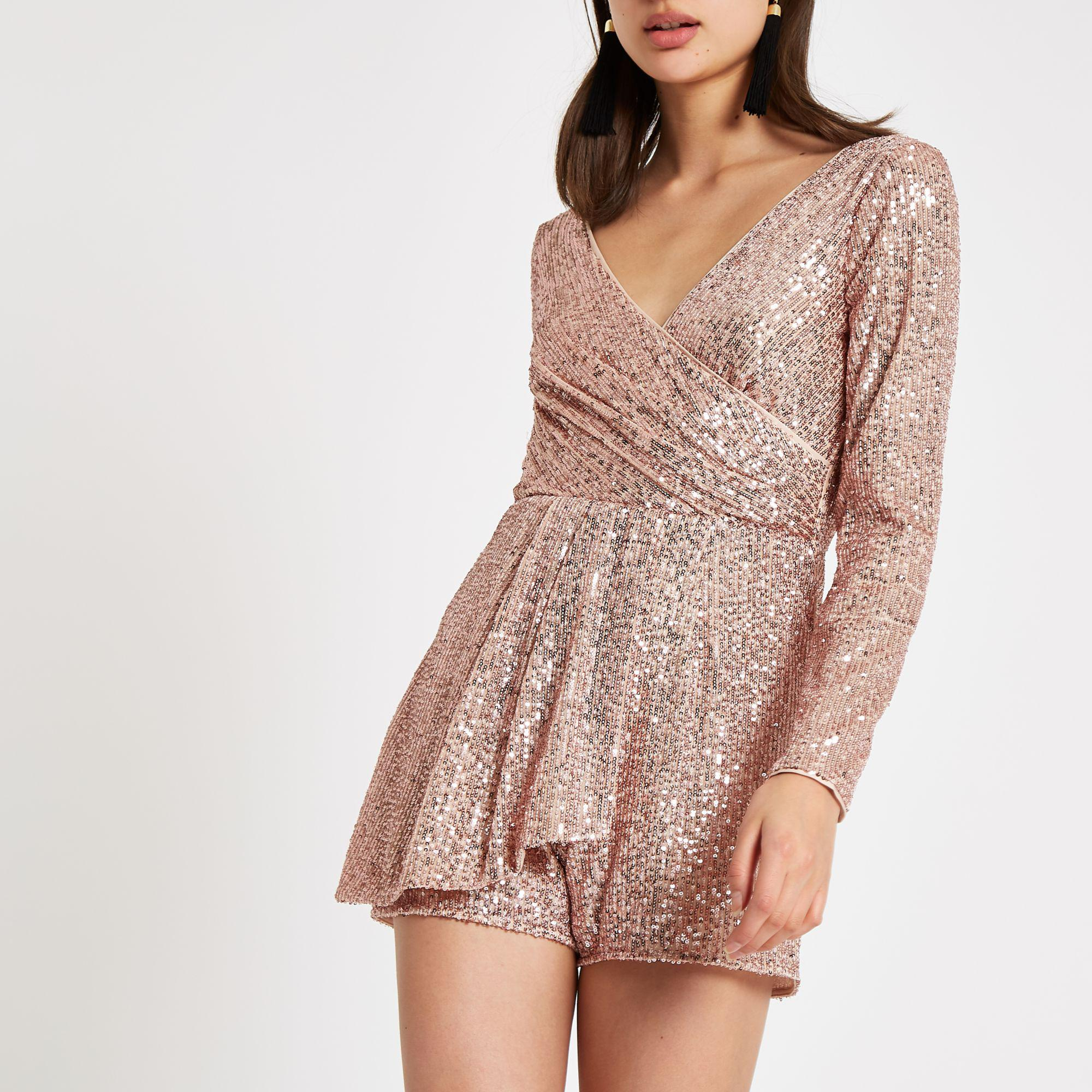 6c91a6f72a River Island Rose Sequin Wrap Front Playsuit in Metallic - Lyst