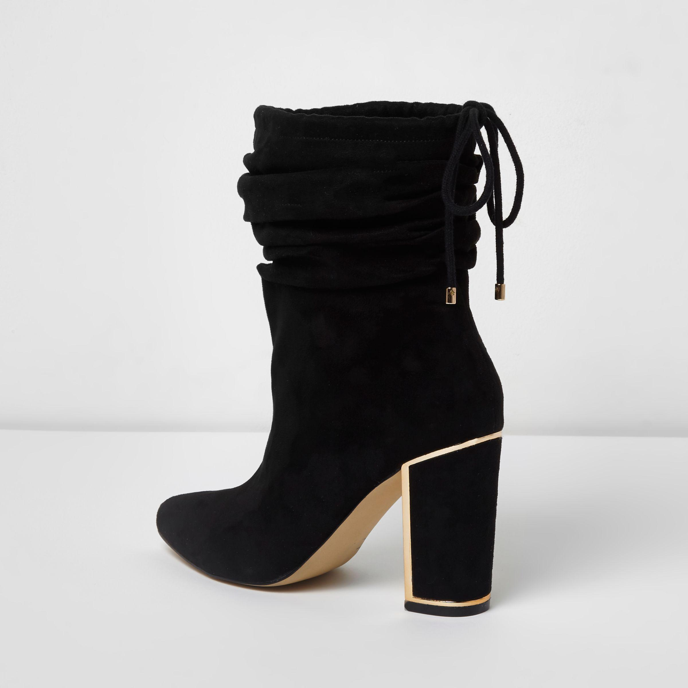 River Island Suede Black Slouch Gold Tone Trim Block Heel Boots