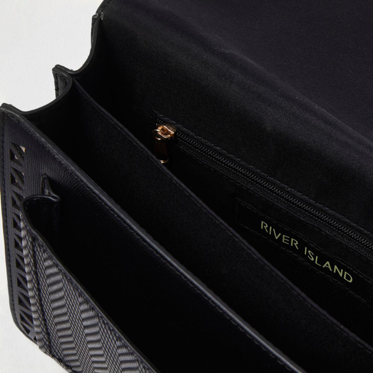 River Island Black Laser Cut Eyelet Stud Cross Body Bag Black Laser Cut Eyelet Stud Cross Body Bag
