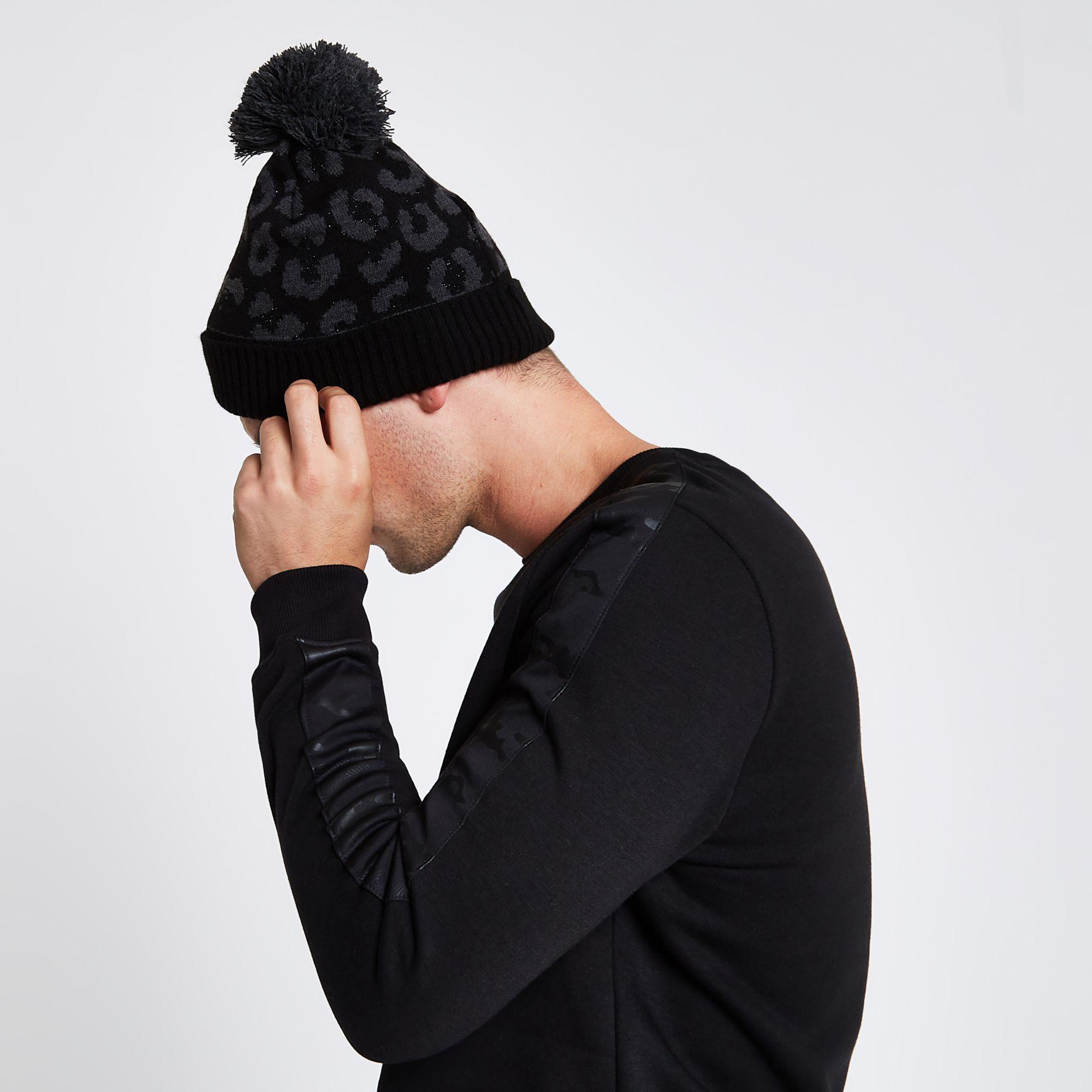 f04bb6f992f River Island - Black Leopard Print Bobble Beanie Hat for Men - Lyst. View  fullscreen