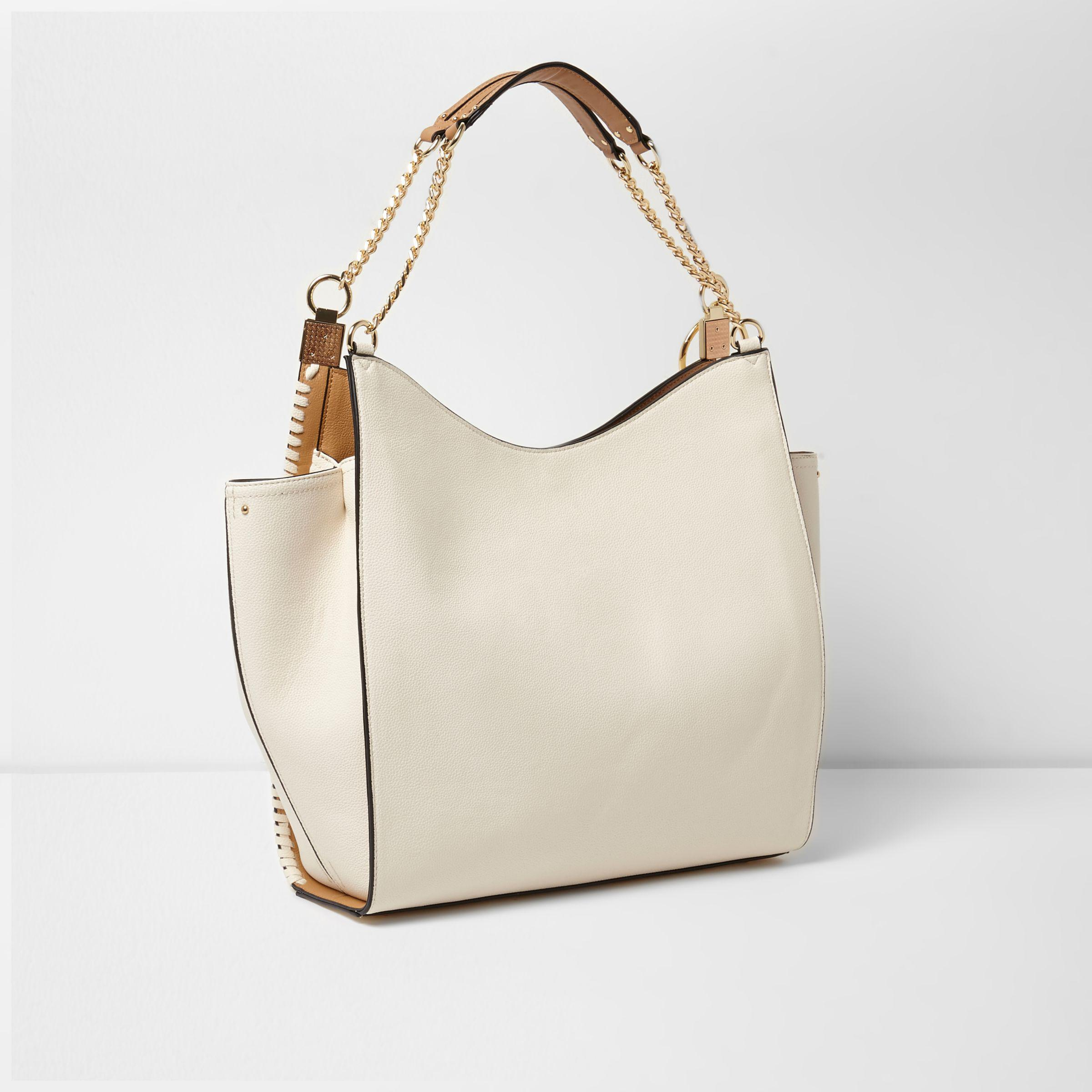 River Island Cream Chain Trim Slouch Tote Bag in Natural