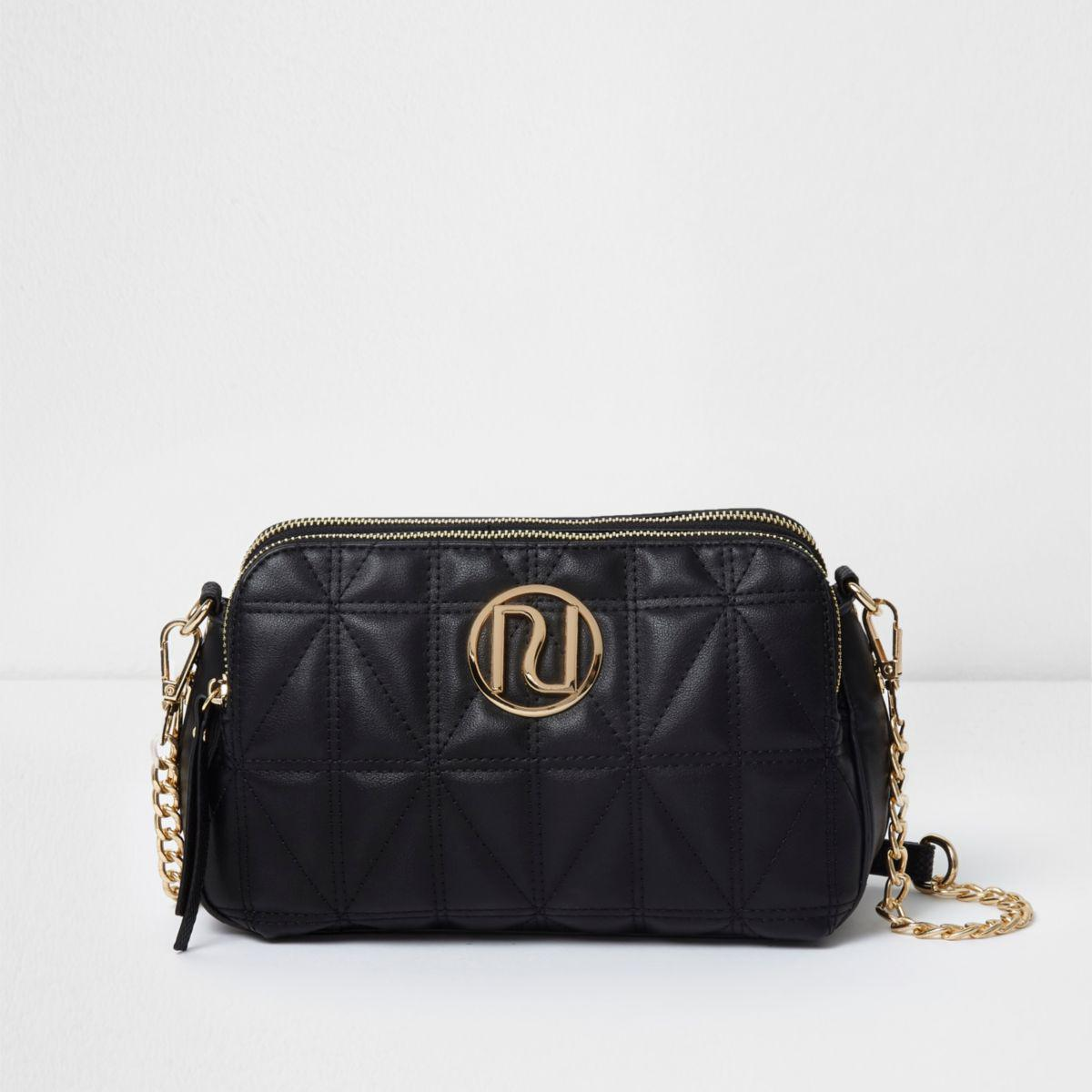 River Island Black Quilted Chain Cross Body Bag Lyst