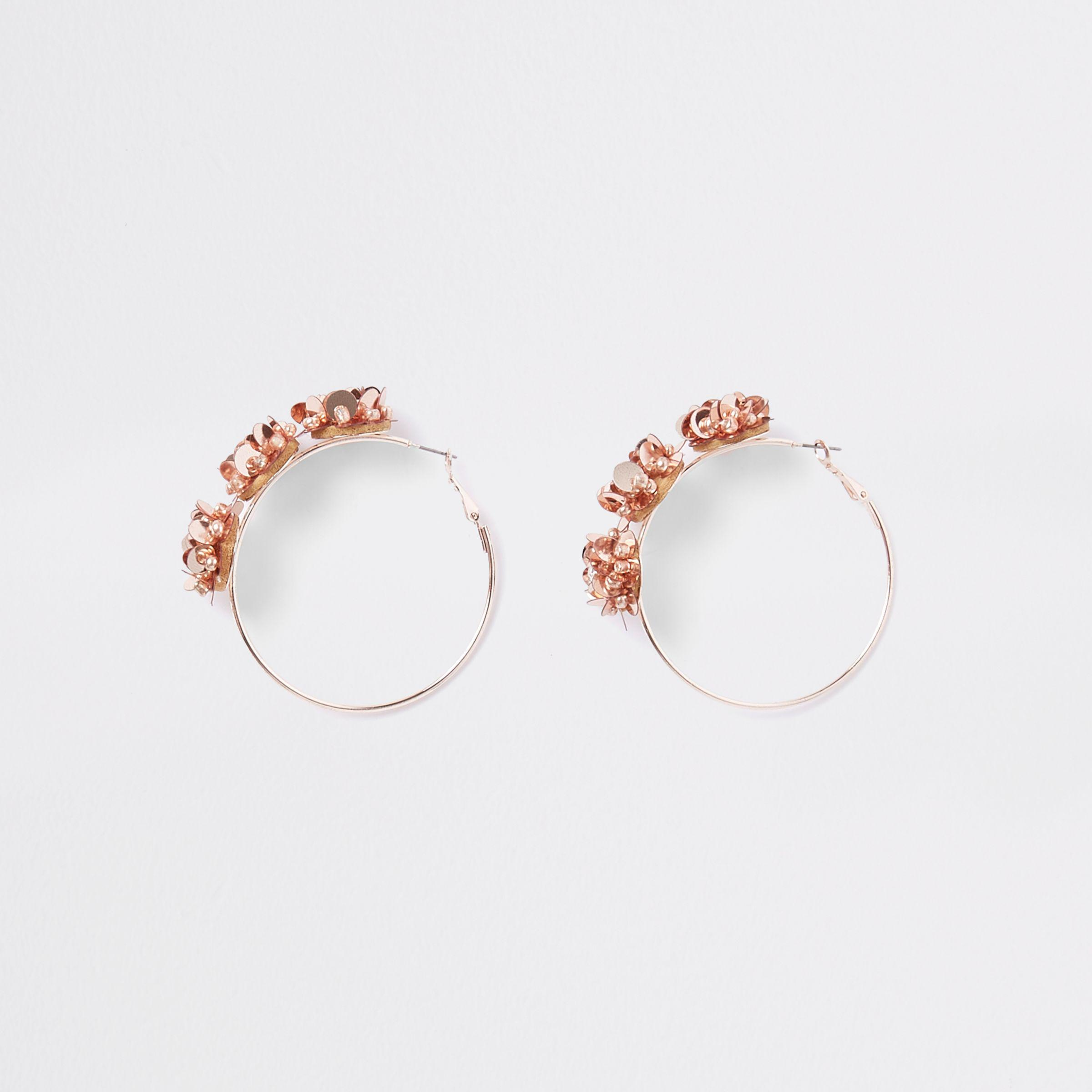 4e9784b2aec83 Women's Rose Gold Floral Sequin Hoop Earrings