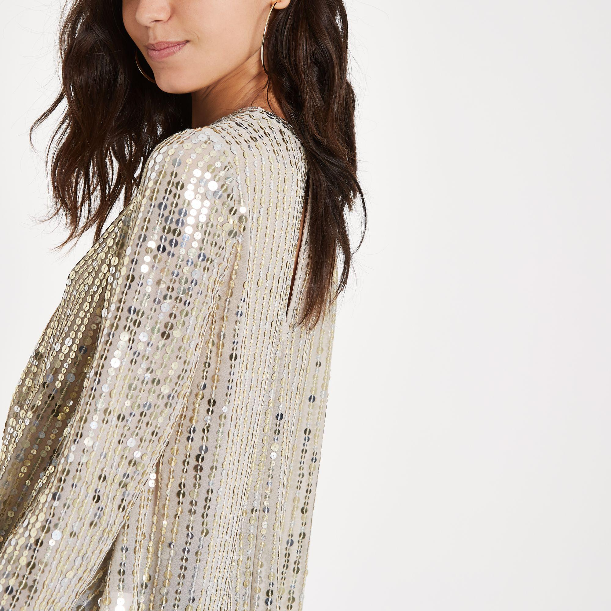 93b1c1292f3a83 Lyst - River Island Sequin Tuck Front Long Sleeve Top in Metallic