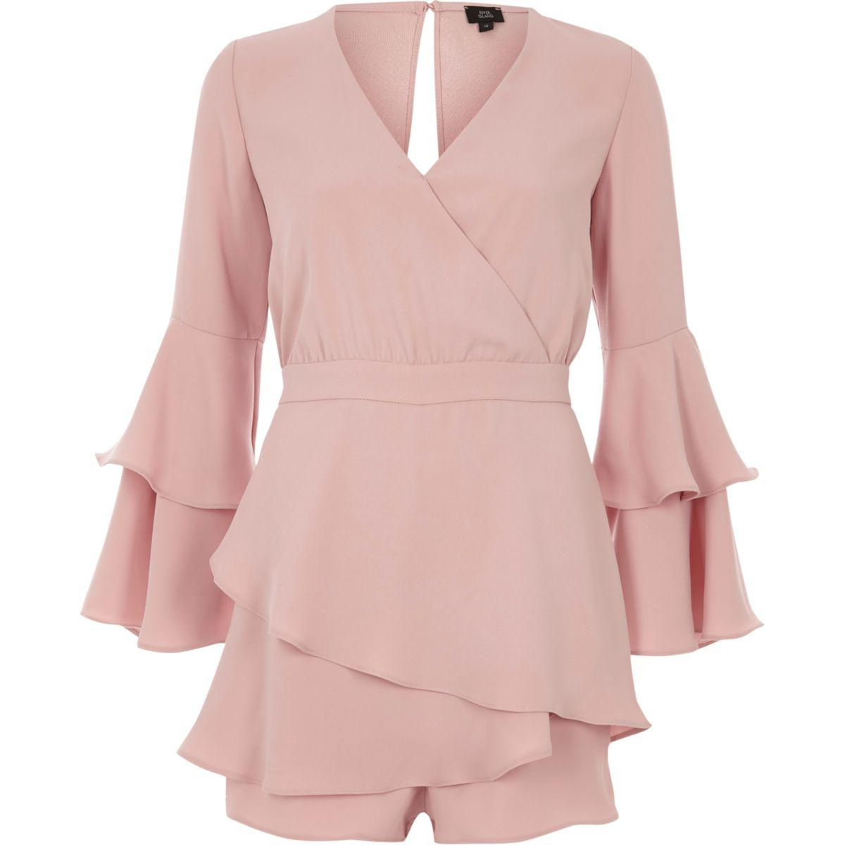 7a7dd2c7ca River Island Light Pink Tiered Frill Skort Playsuit Light Pink ...