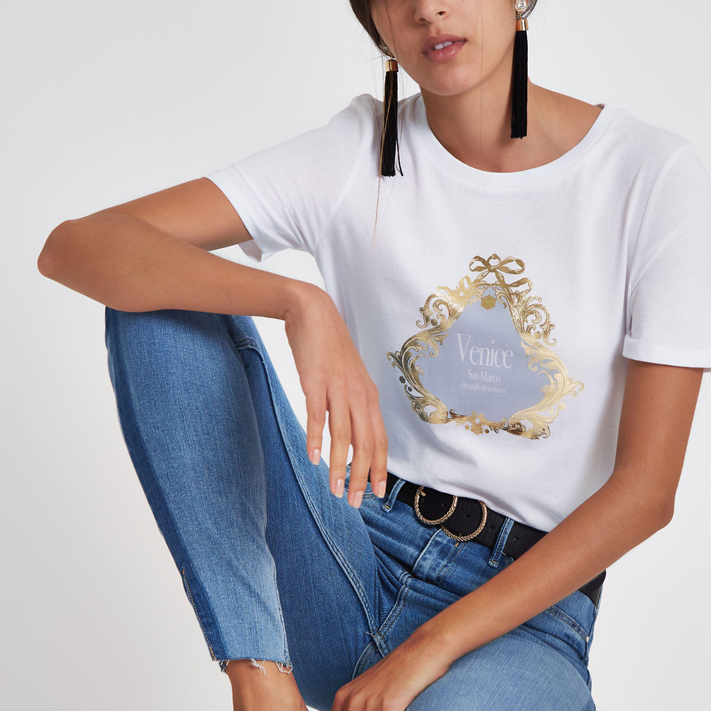 Womens White Venice print fitted T-shirt River Island Clearance Pay With Visa Professional Sale Online fhNwM