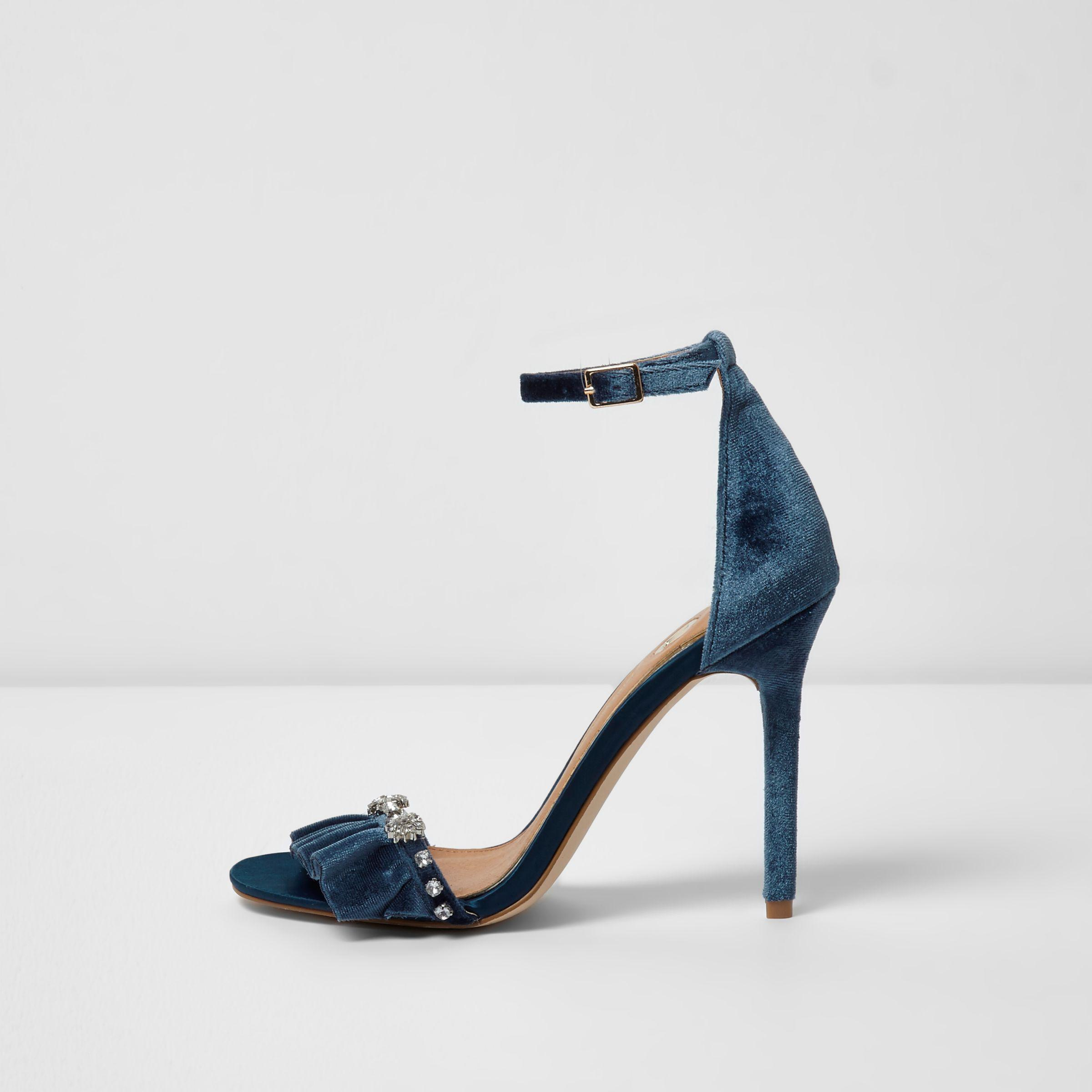 a1499dd00a38 Lyst - River Island Blue Velvet Embellished Barely There Sandals in Blue