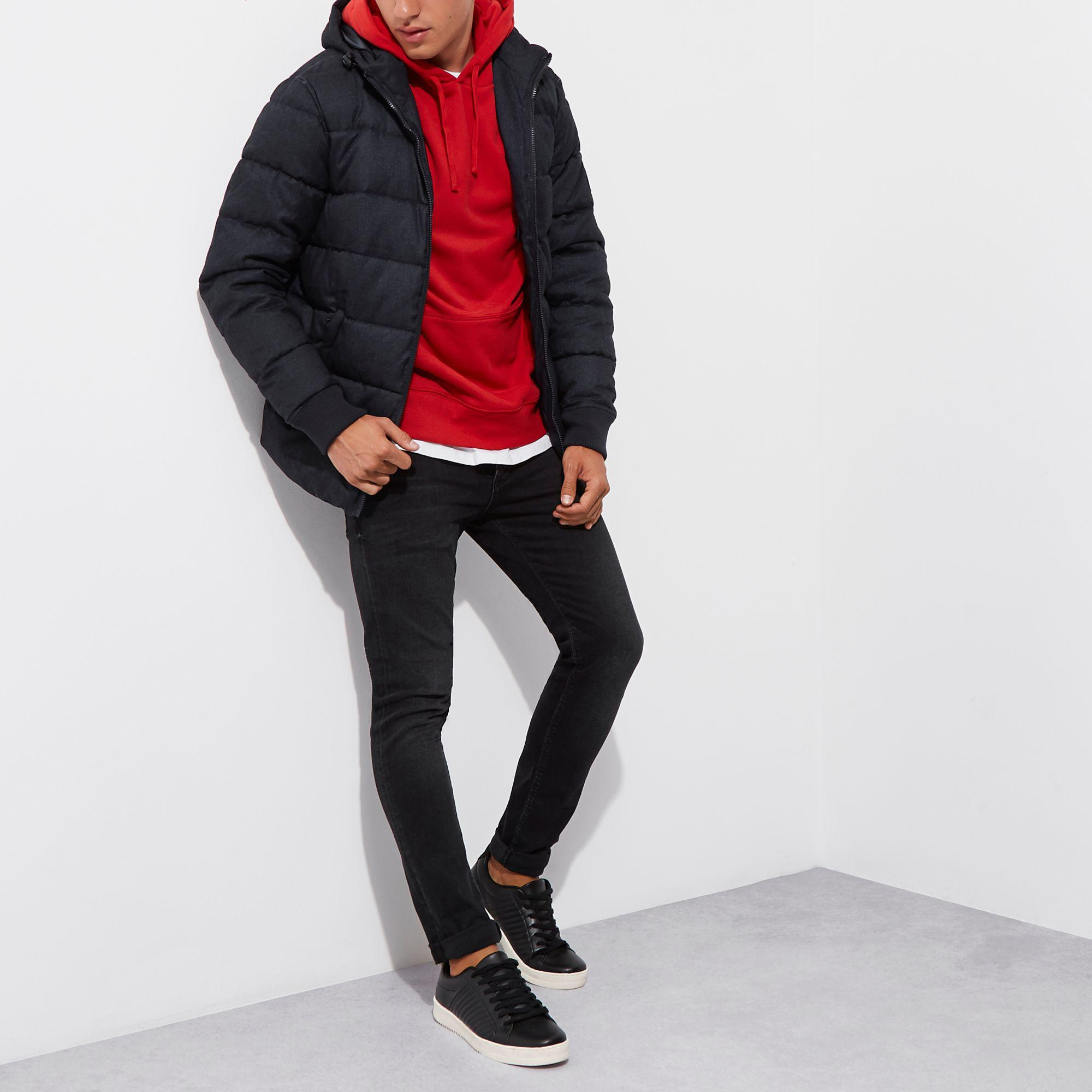 River Island Synthetic Navy Hooded Puffa Jacket in Blue for Men