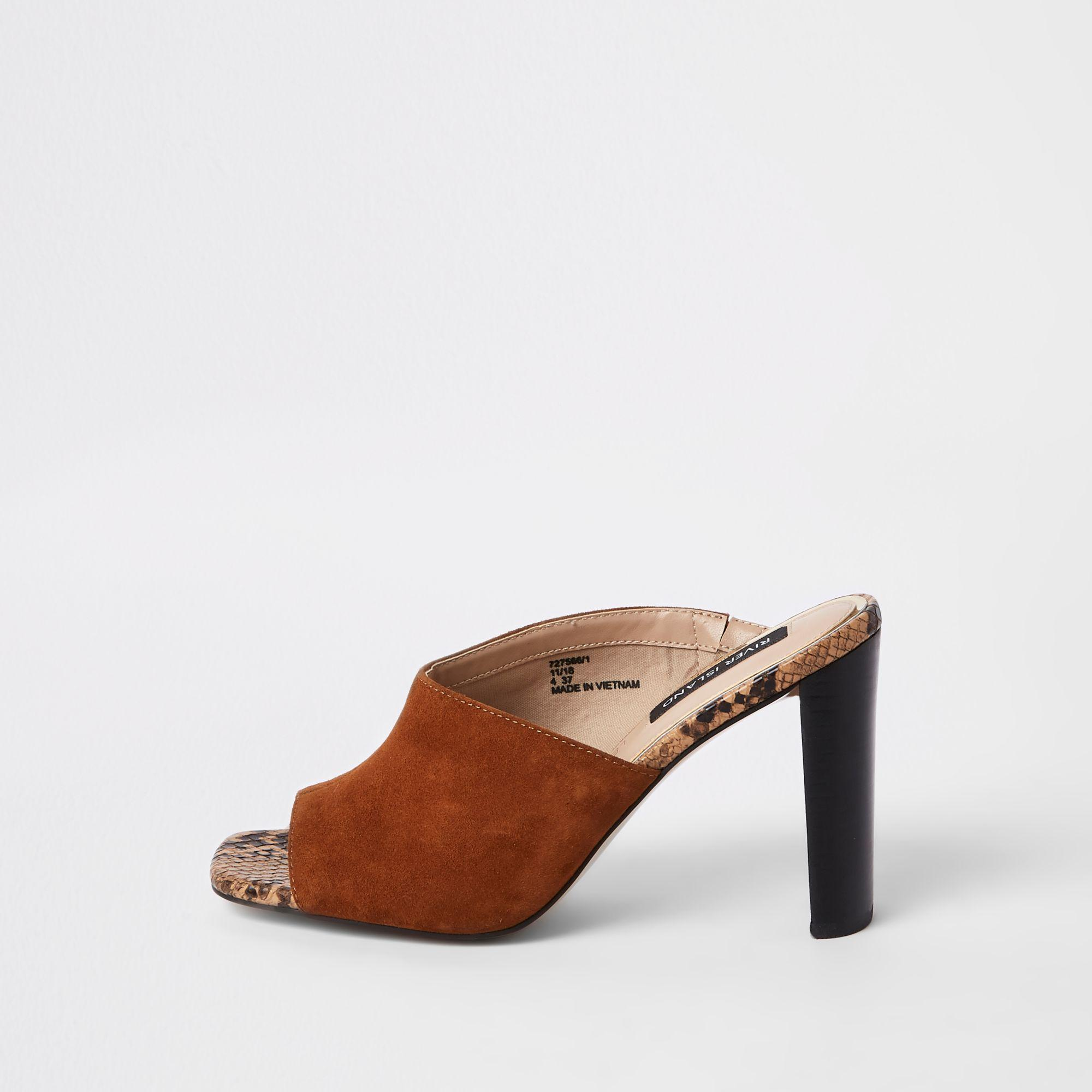 dc002fa68c26 River Island Light Brown Asymmetric Heeled Mules in Brown - Lyst
