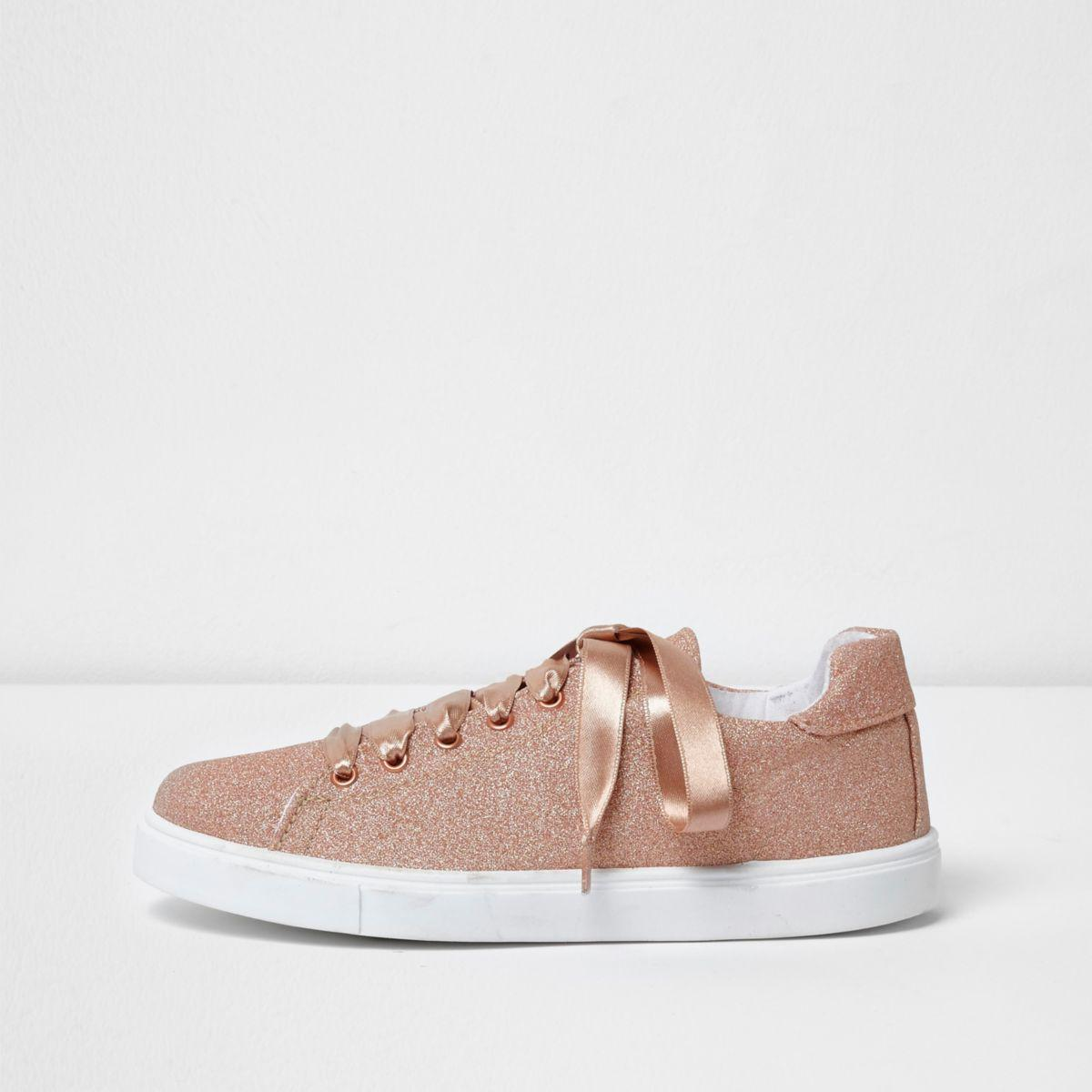 River Island Womens ribbon lace-up trainers LvkoZxgG