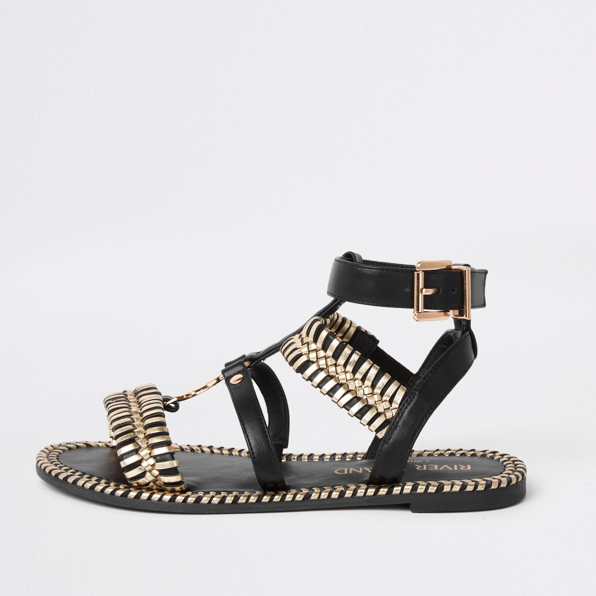 791261df450 Lyst - River Island Cage Wide Fit Flat Sandal in Black
