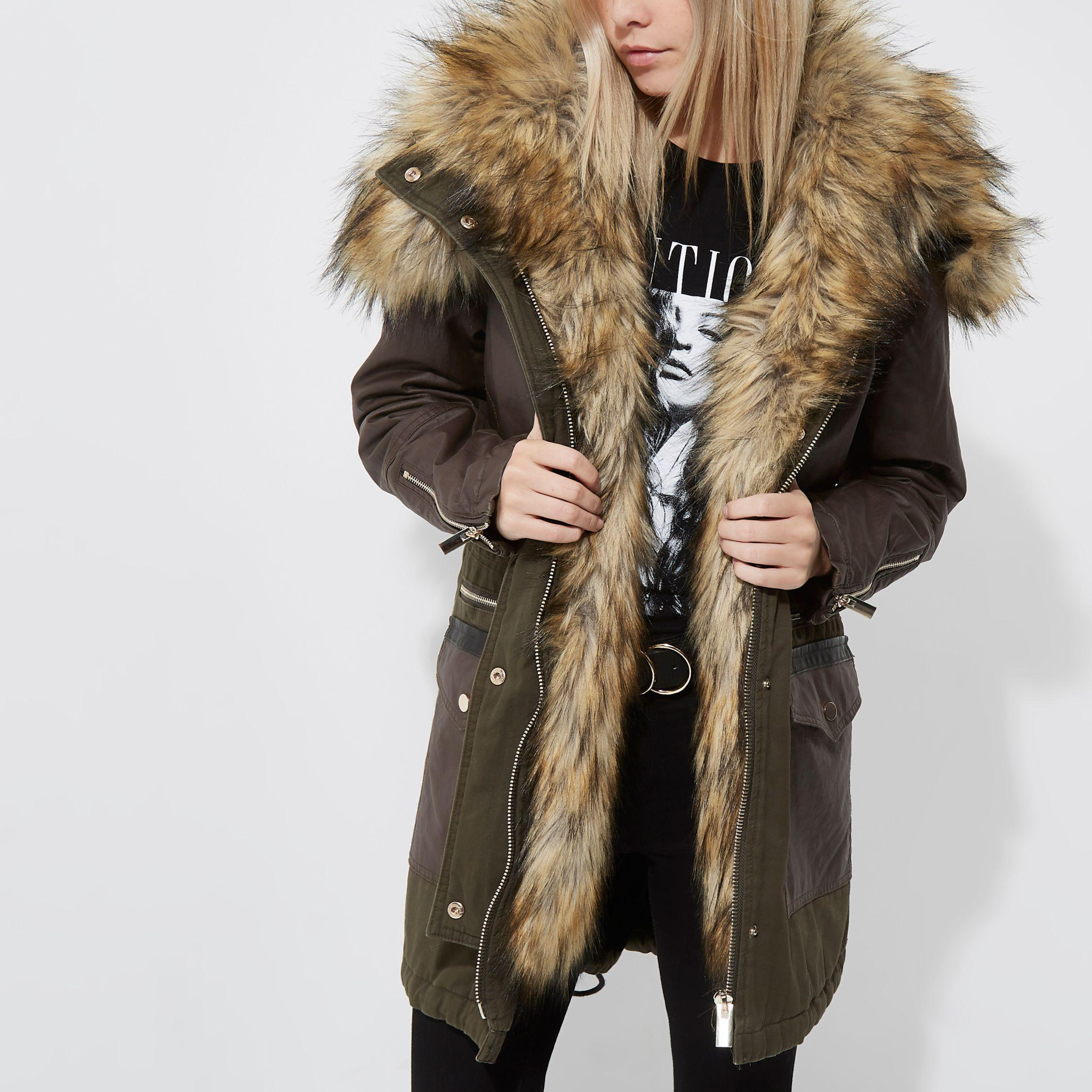 Khaki Green Faux Fur Trim Parka Jacket