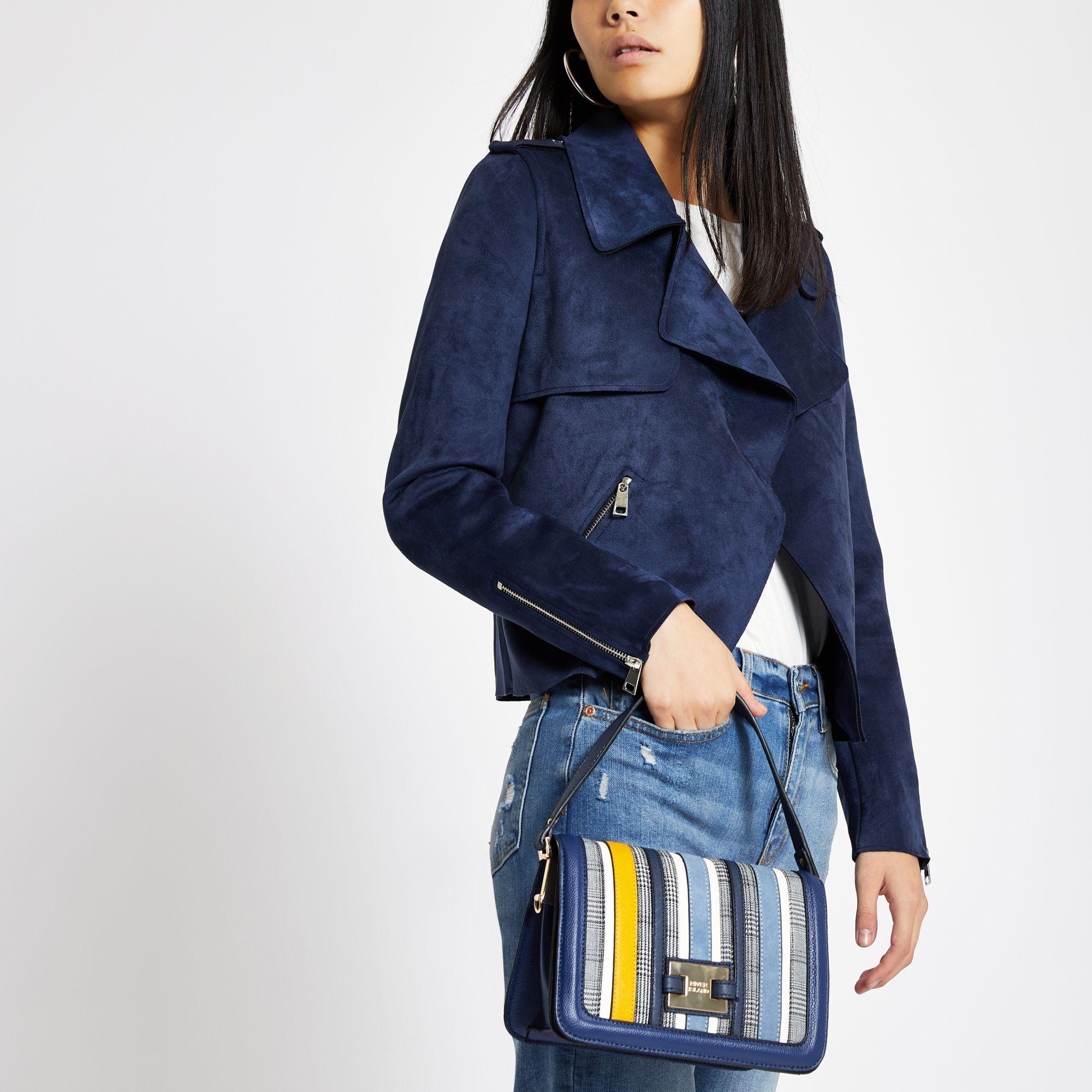 River Island Blue Stripe Flap Over Crossbody Bag