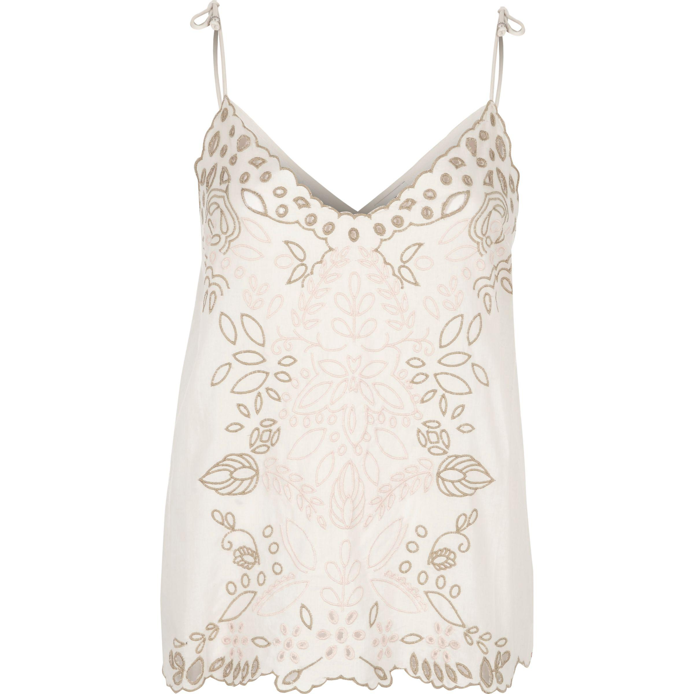 ffdf4f28693 Women's Natural Cream Embroidered Cutwork Bow Cami Top