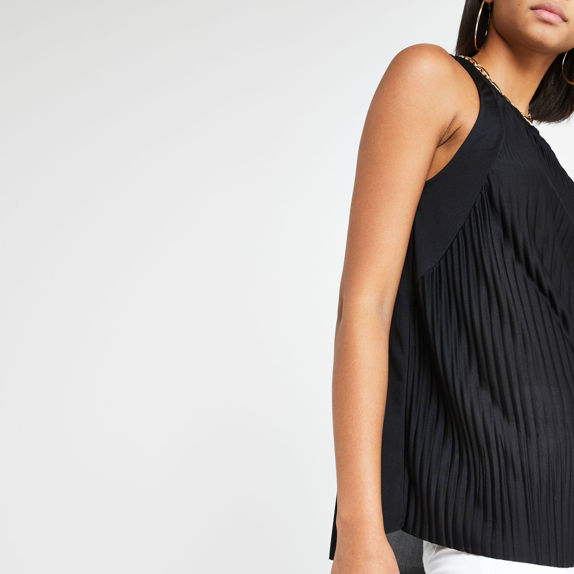 c0d5550062593 River Island Black Pleated Loose Fit Top in Black - Lyst