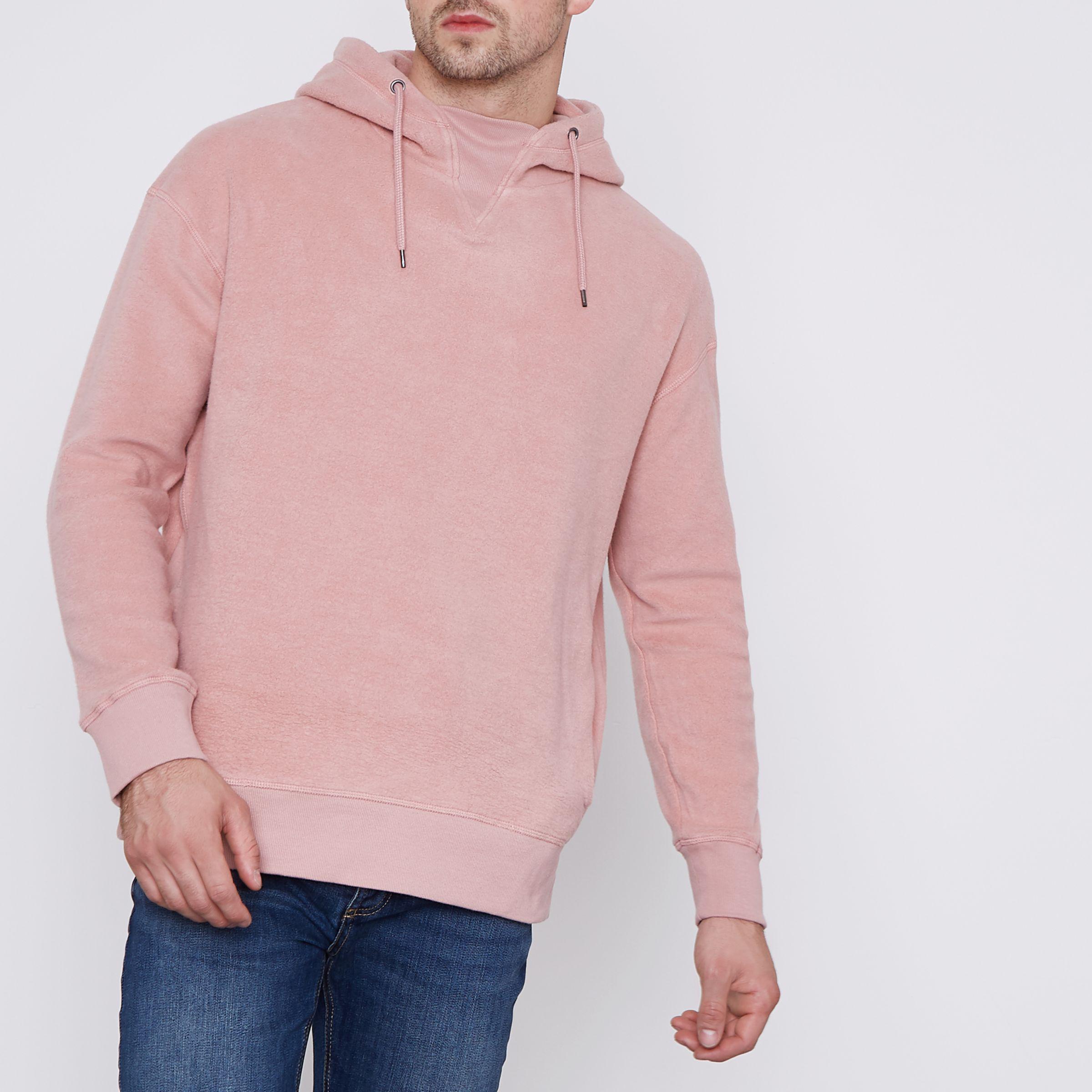 River Island Pink Fleece Hoodie for Men