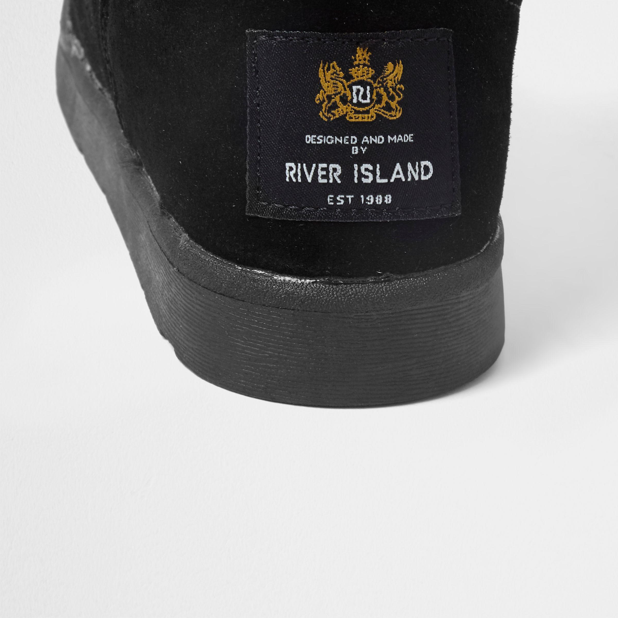 River Island Black Suede Faux Fur Lined Bow Back Boots