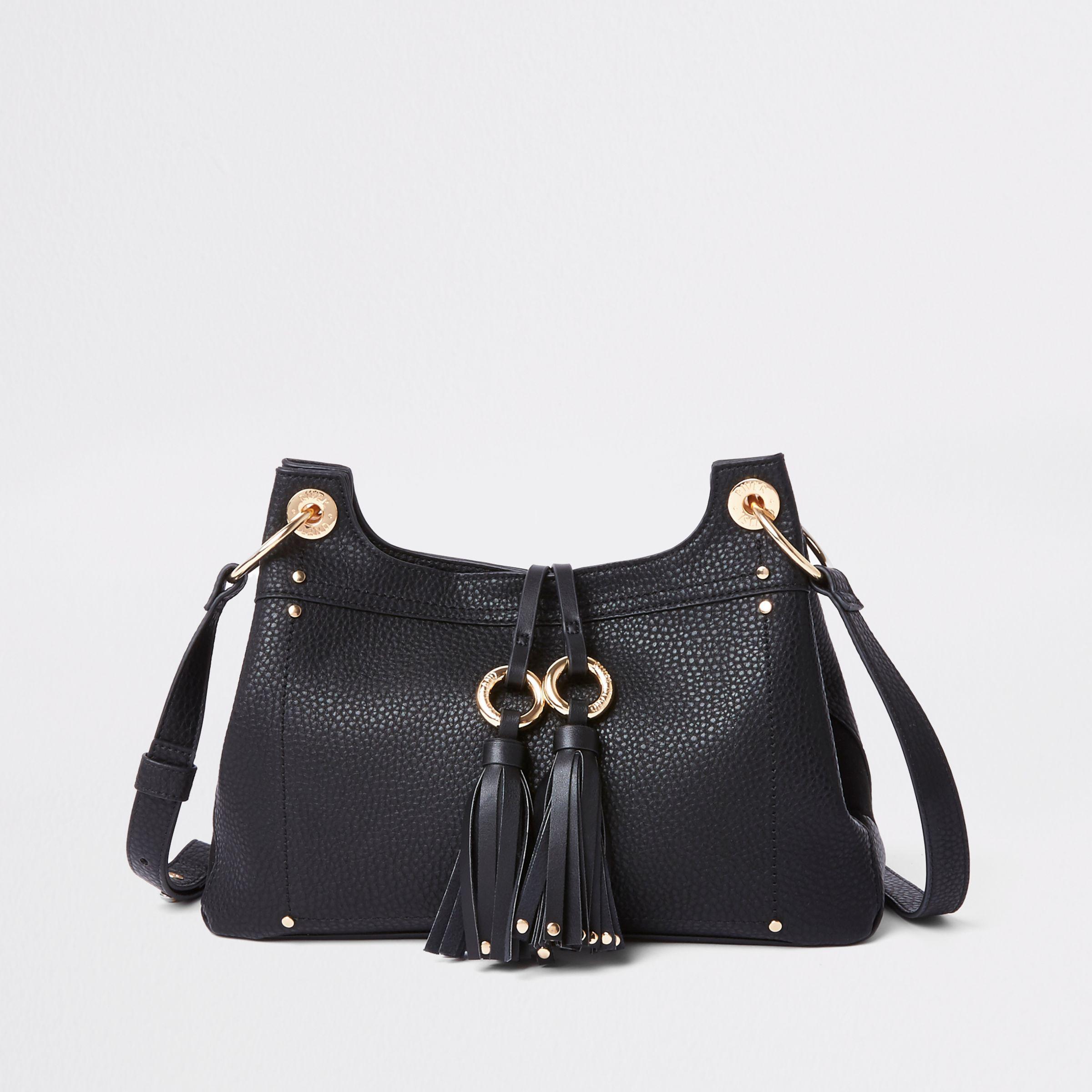 Womens Black double ring tassel crossbody bag River Island vgxrHr9