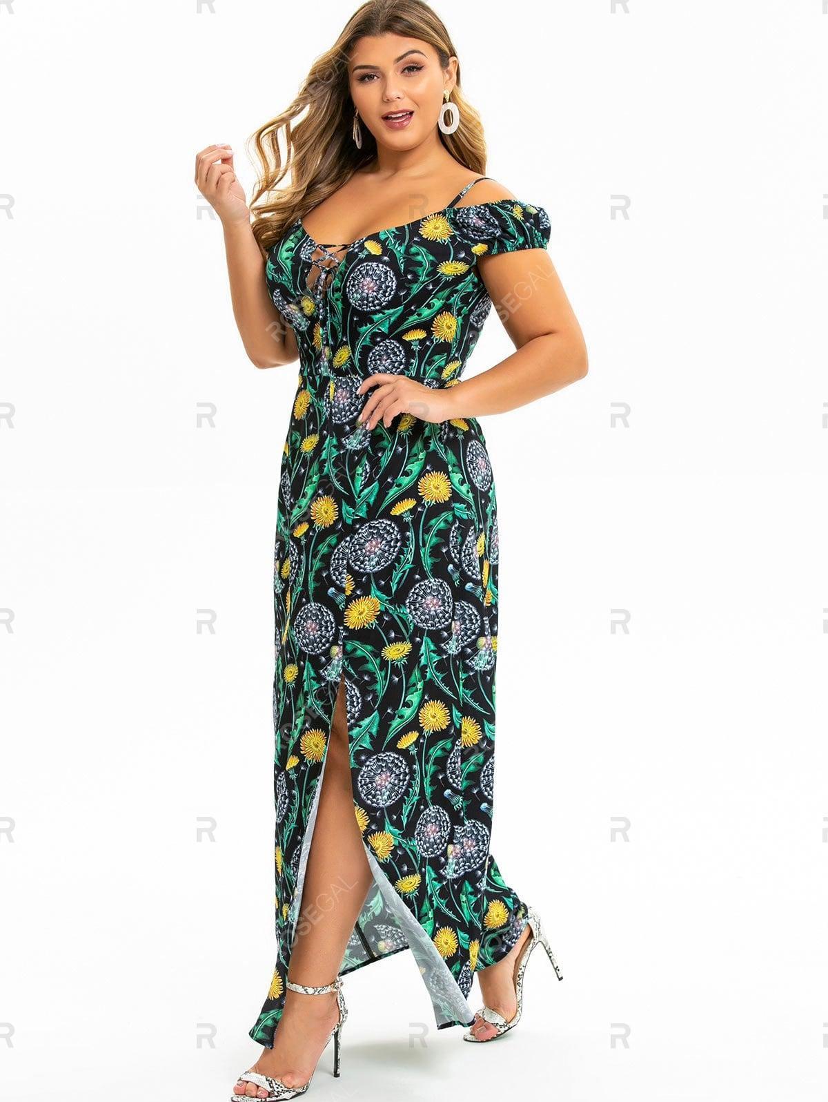 Plus Size Dandelion Slit Cold Shoulder Maxi Dress