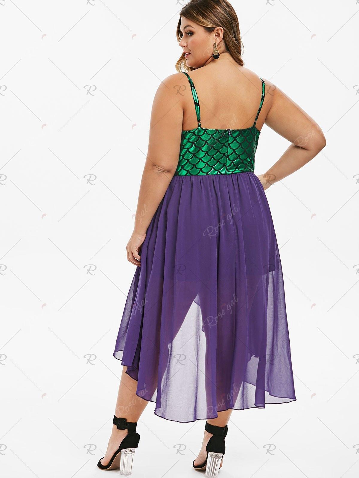 Overlap High Low Mermaid Scales Plus Size Dress