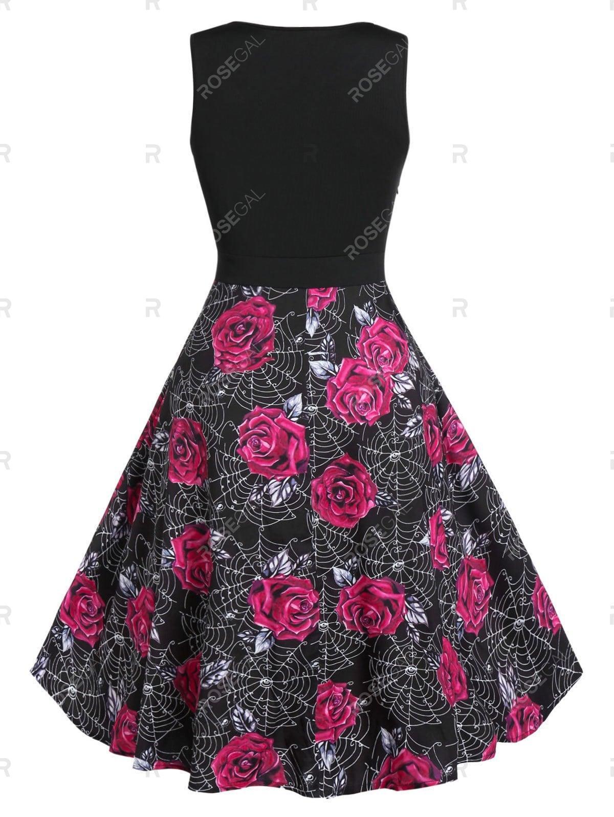Plus Size Halloween Rose Spider Web Print Retro Pin Up Dress