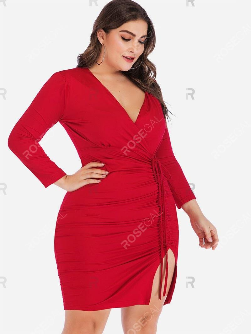 Long Sleeve Cinched Slit Surplice Plus Size Bodycon Dress