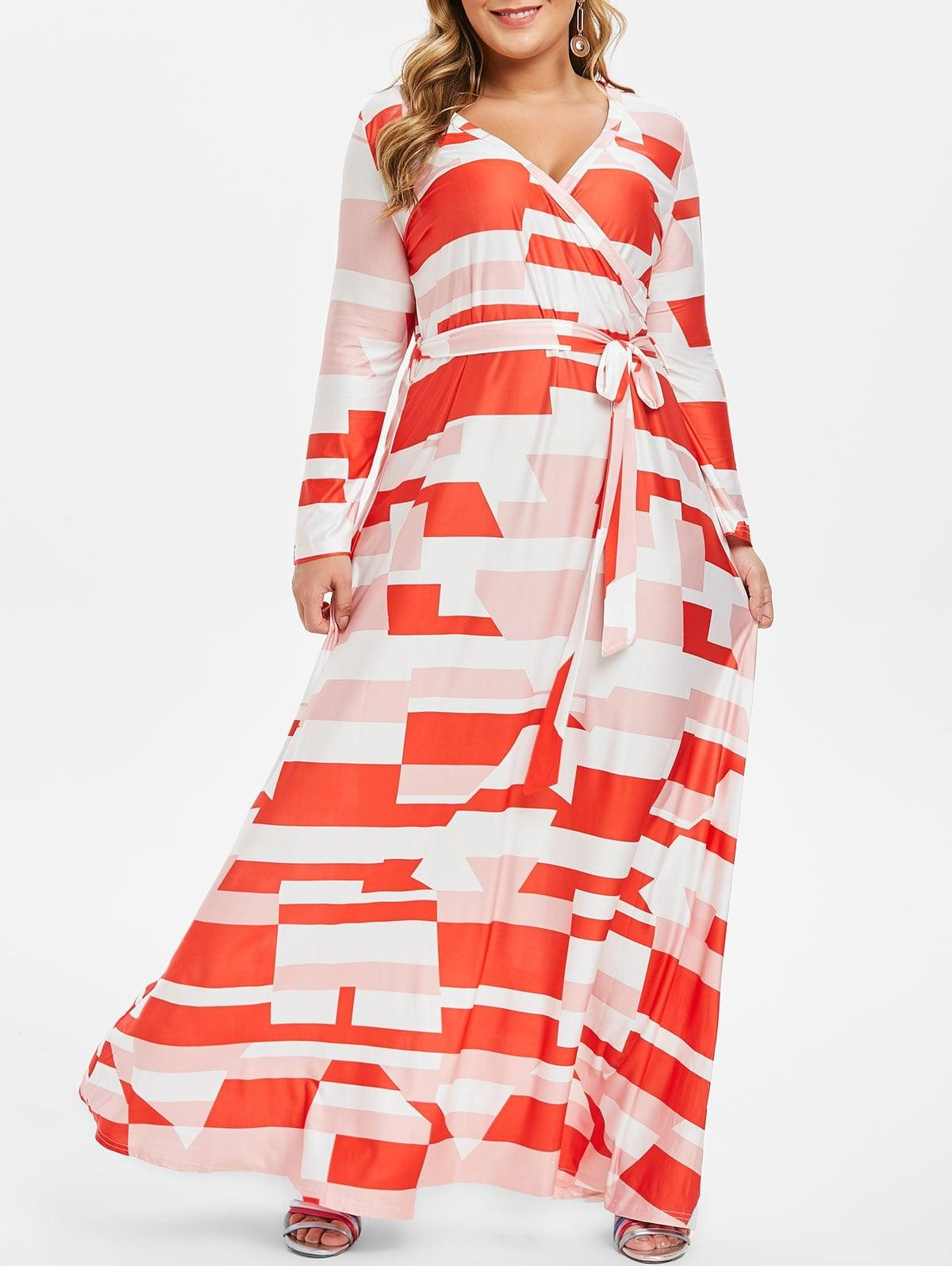 Plus Size Low Cut Geometrical Maxi Dress