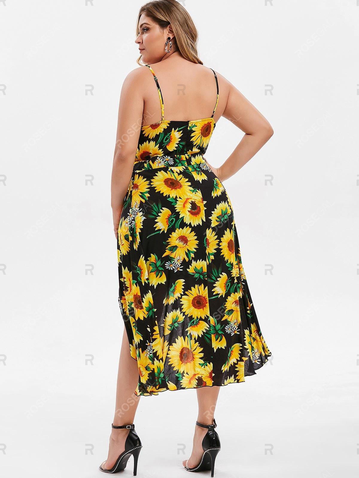 Plus Size High Low Sunflower Print Dress
