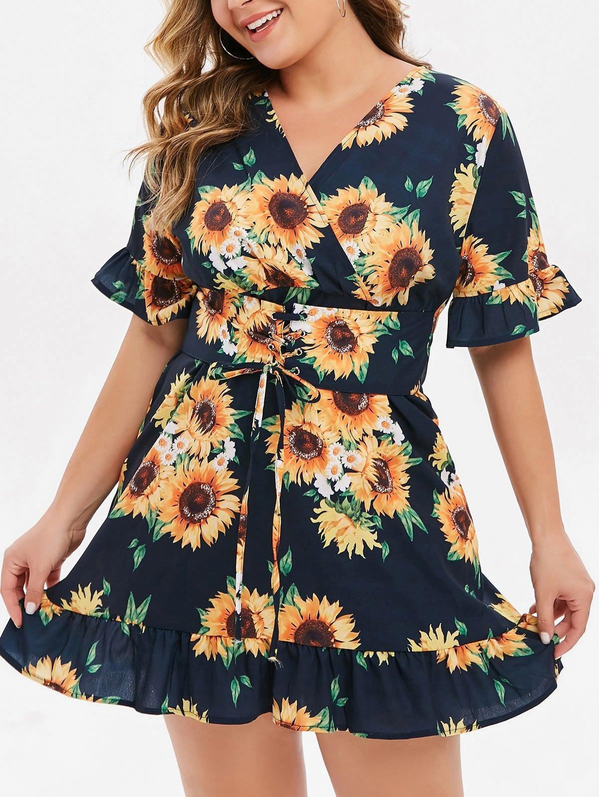 Plus Size Sunflower Print Lace Up Mini Dress