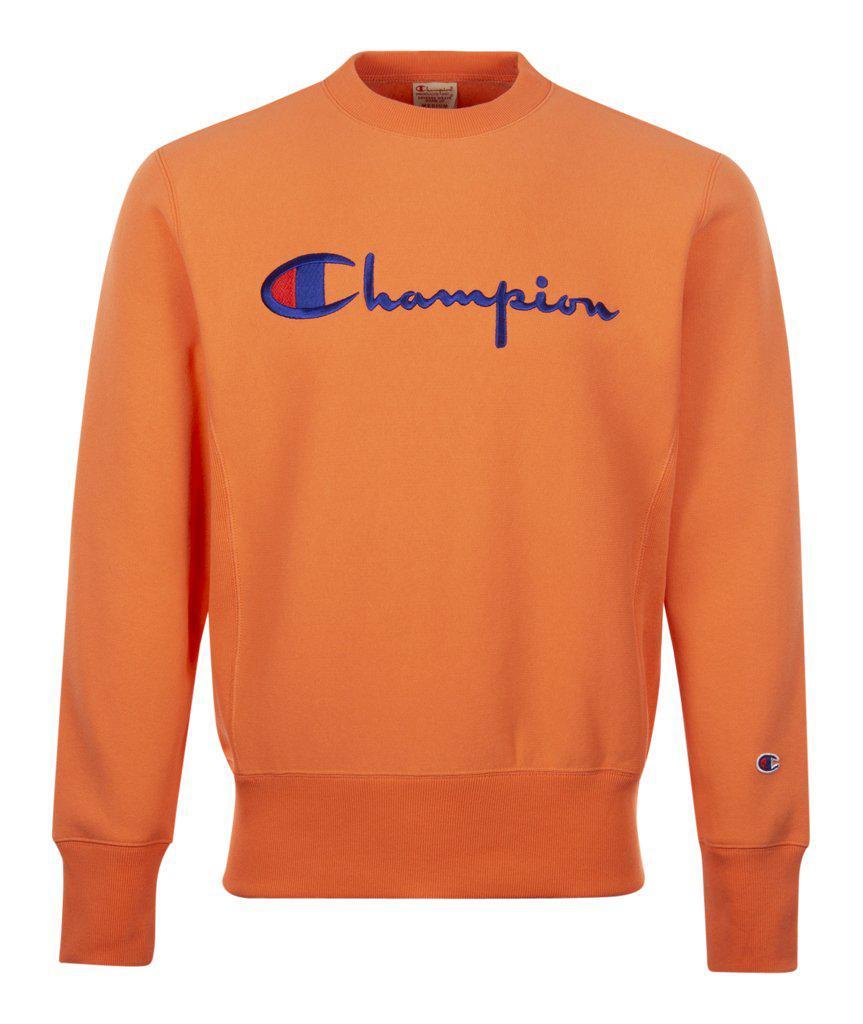 0eefba33 Lyst - Champion Big Script Crew Neck Sweatshirt in Orange for Men