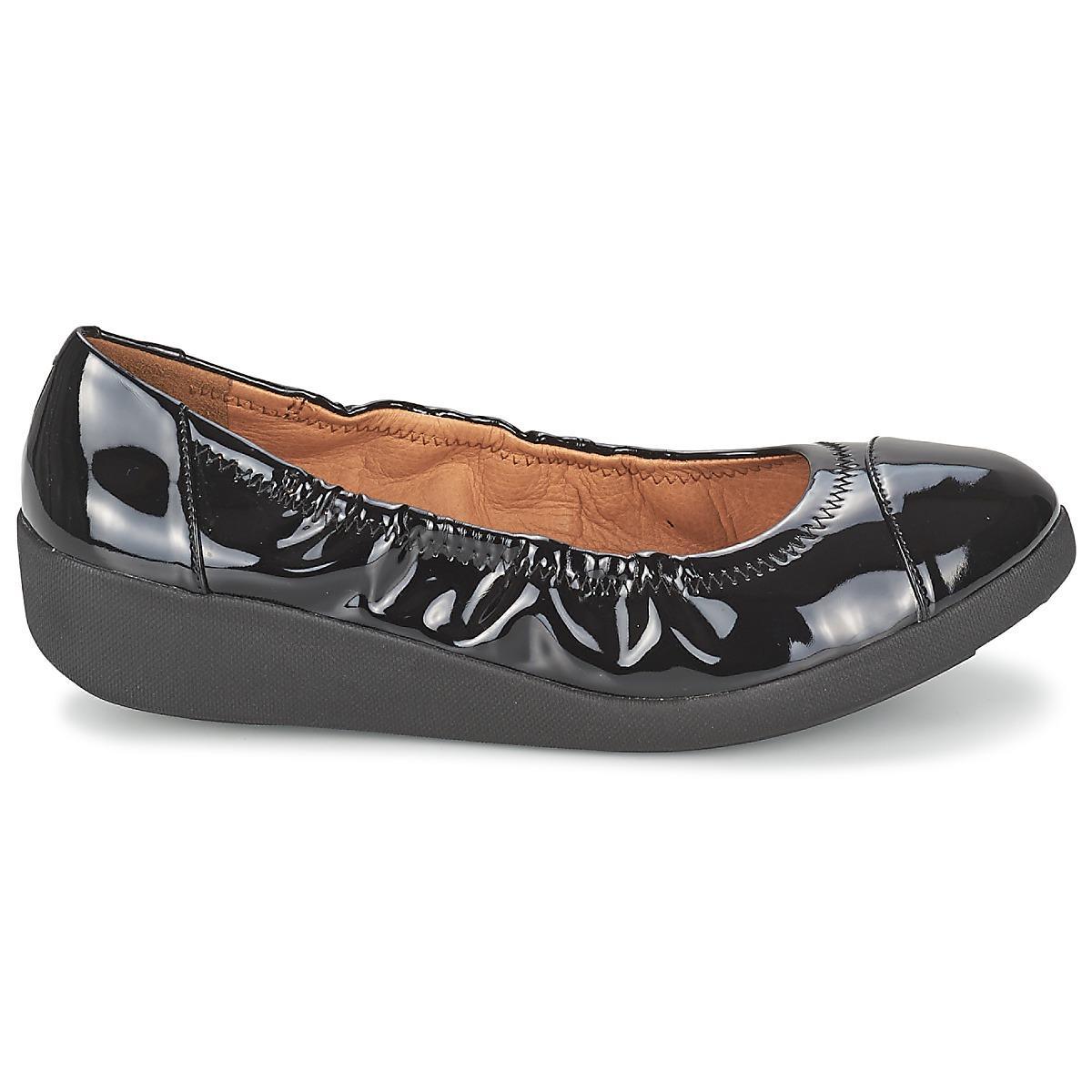 e0c31167fb90 Fitflop - Black F-pop Ballerina Patent Shoes (pumps   Ballerinas) - Lyst.  View fullscreen
