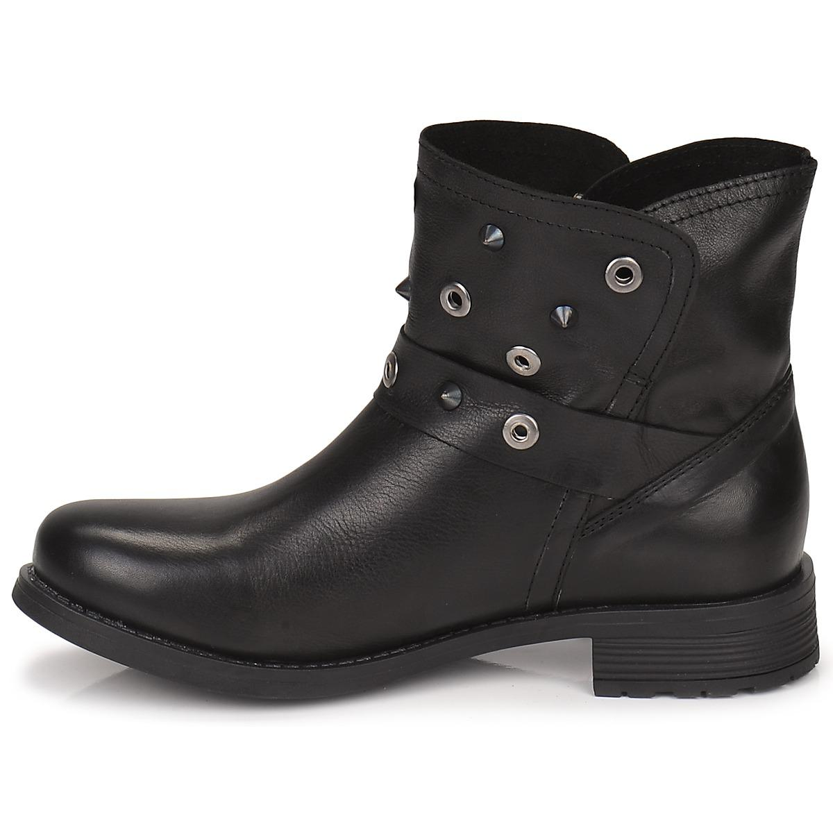 Casual Attitude Leather Guaboum Mid Boots in Black
