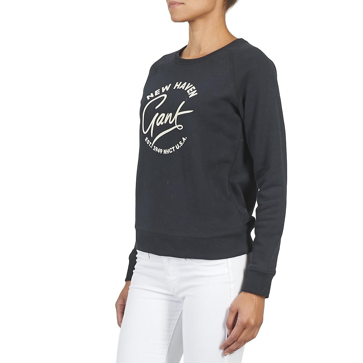 GANT Cotton Collegiate C-neck Sweatshirt in Black