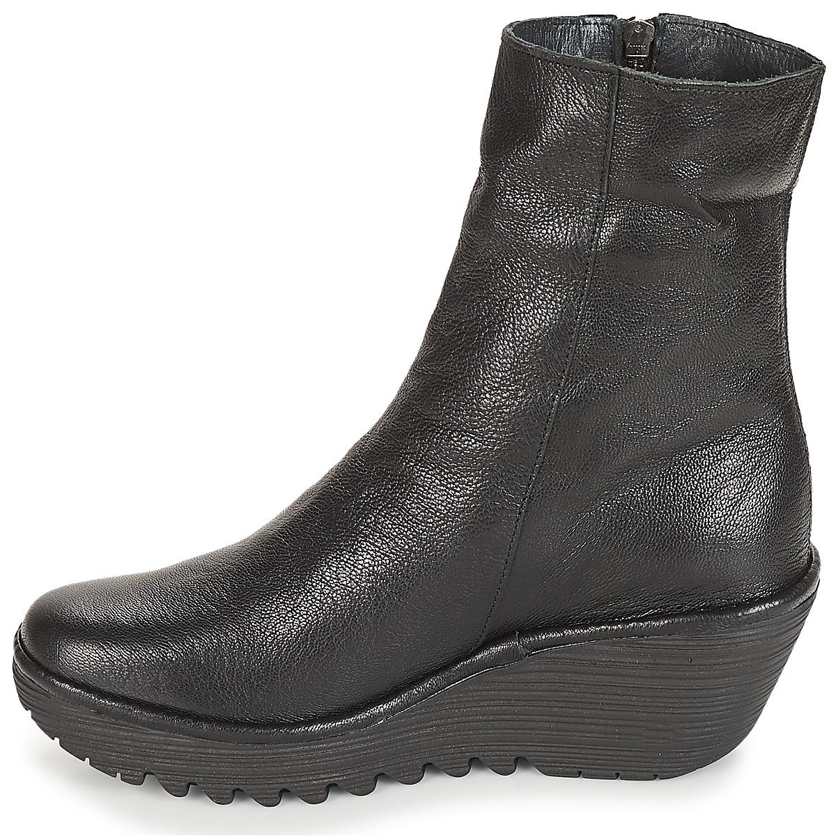 Fly London Leather Yemi Women's Low Ankle Boots In Black